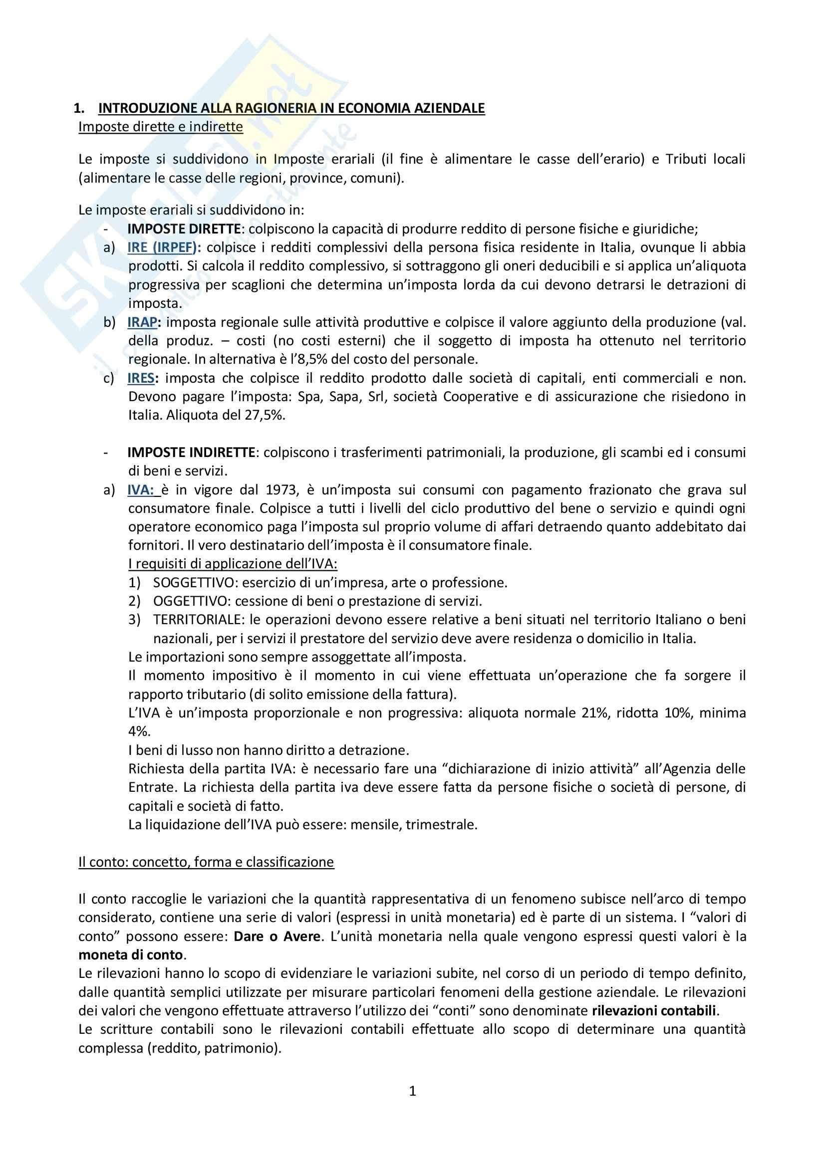 Riassunto esame Ragioneria, prof. Martinelli, libro consigliato La contabilità generale e i processi amministrativi, Saita, Saracino