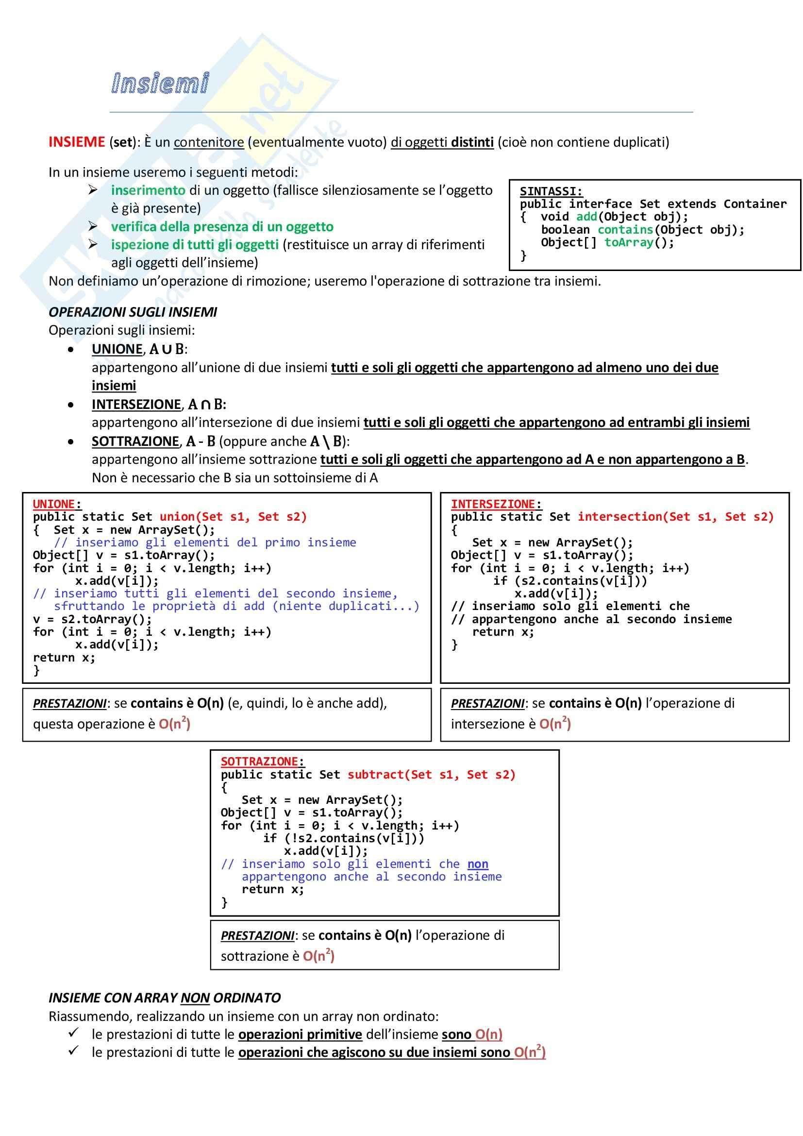 Informatica I - gli insiemi e le operazioni con gli insiemi