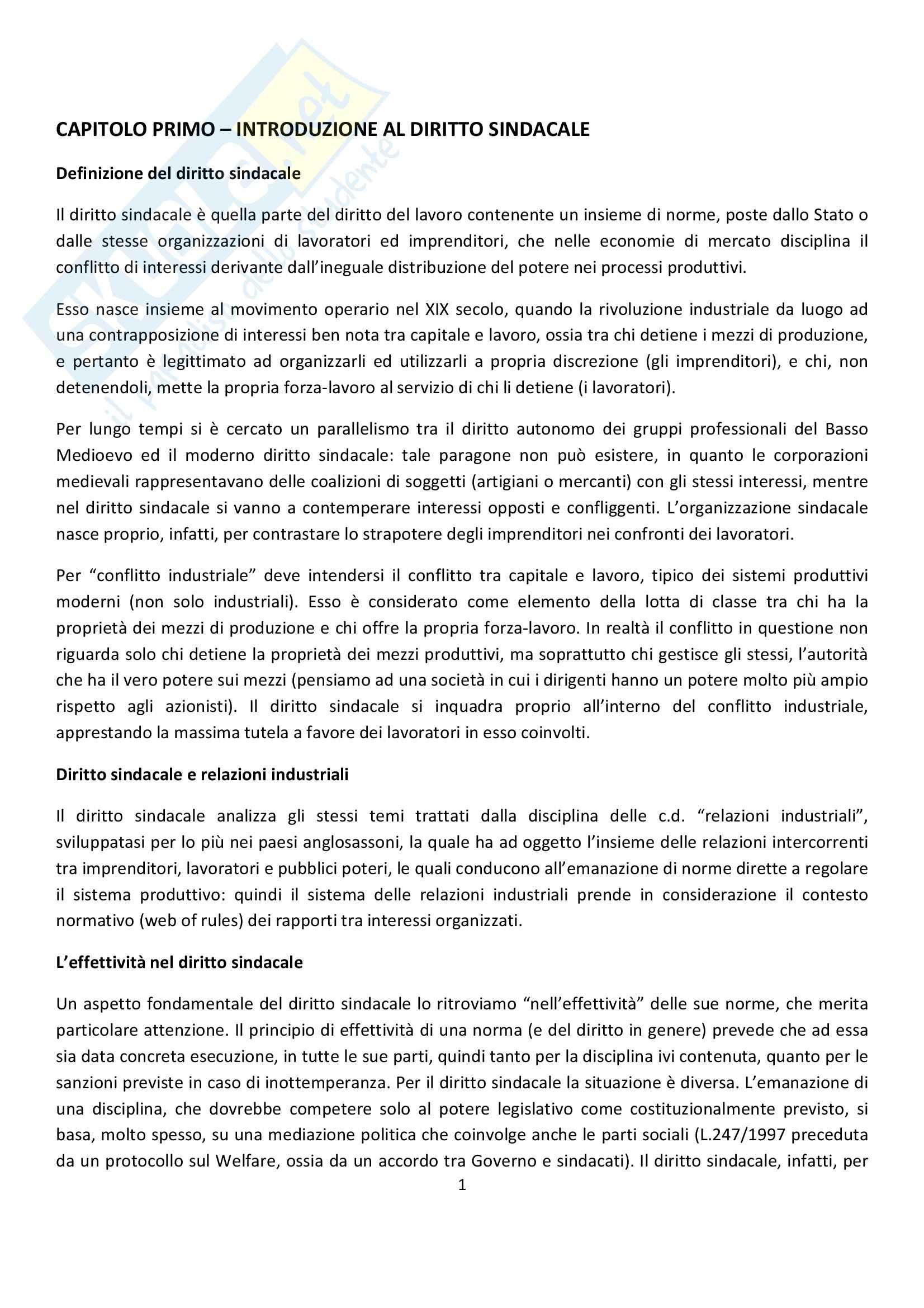 Riassunto esame Diritto del Lavoro, prof. Ghera, libro consigliato Diritto Sindacale, Giugni
