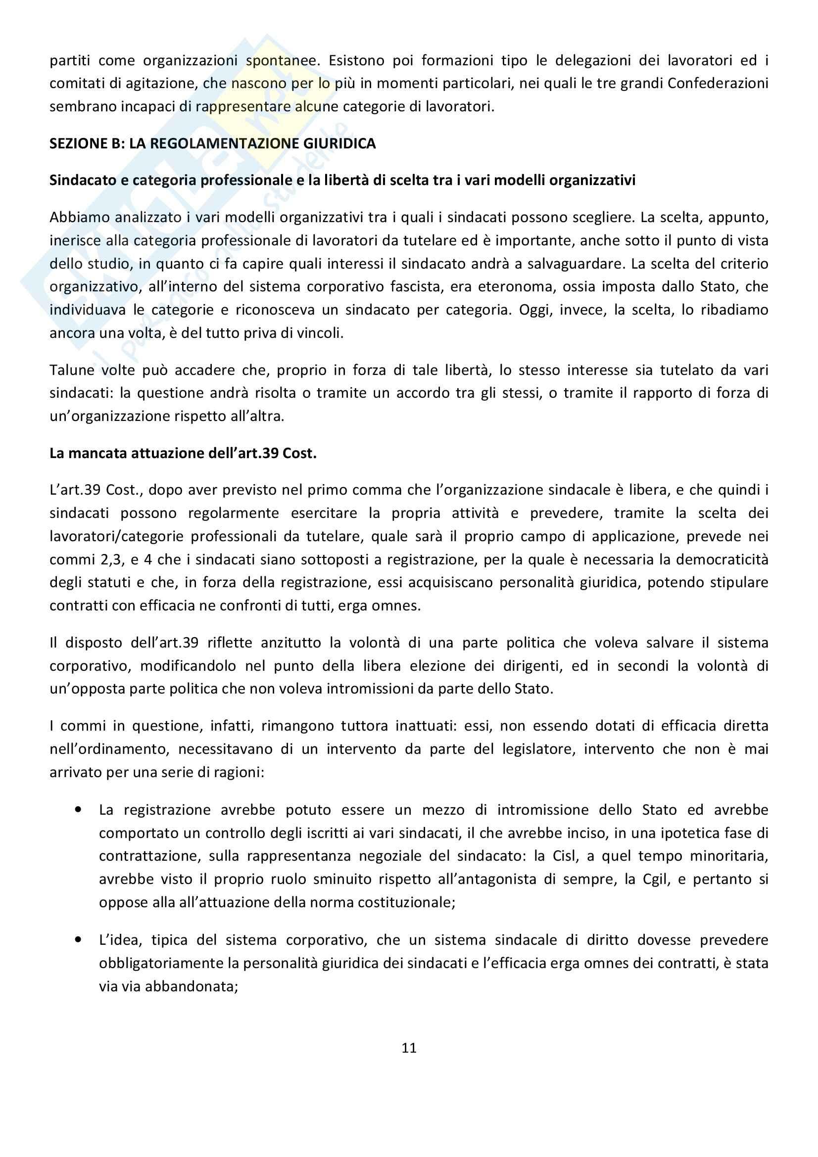 Riassunto esame Diritto del Lavoro, prof. Ghera, libro consigliato Diritto Sindacale, Giugni Pag. 11