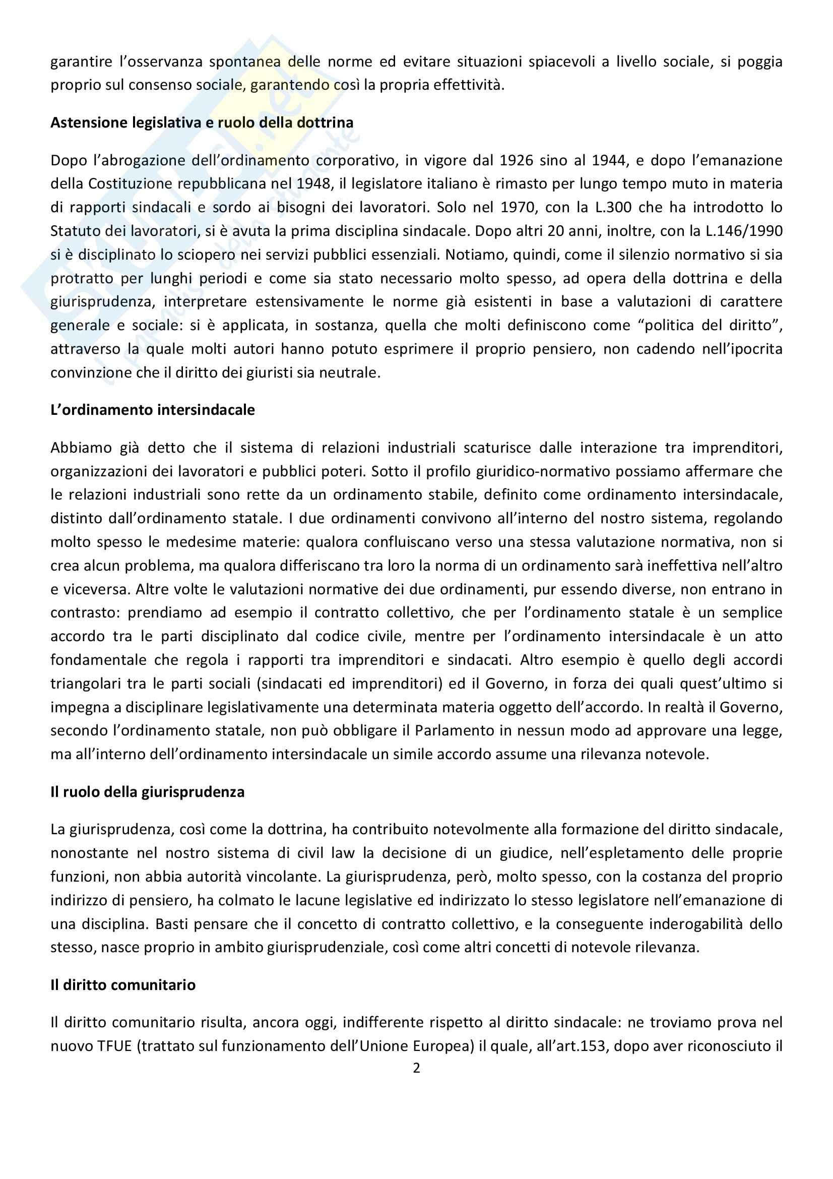 Riassunto esame Diritto del Lavoro, prof. Ghera, libro consigliato Diritto Sindacale, Giugni Pag. 2