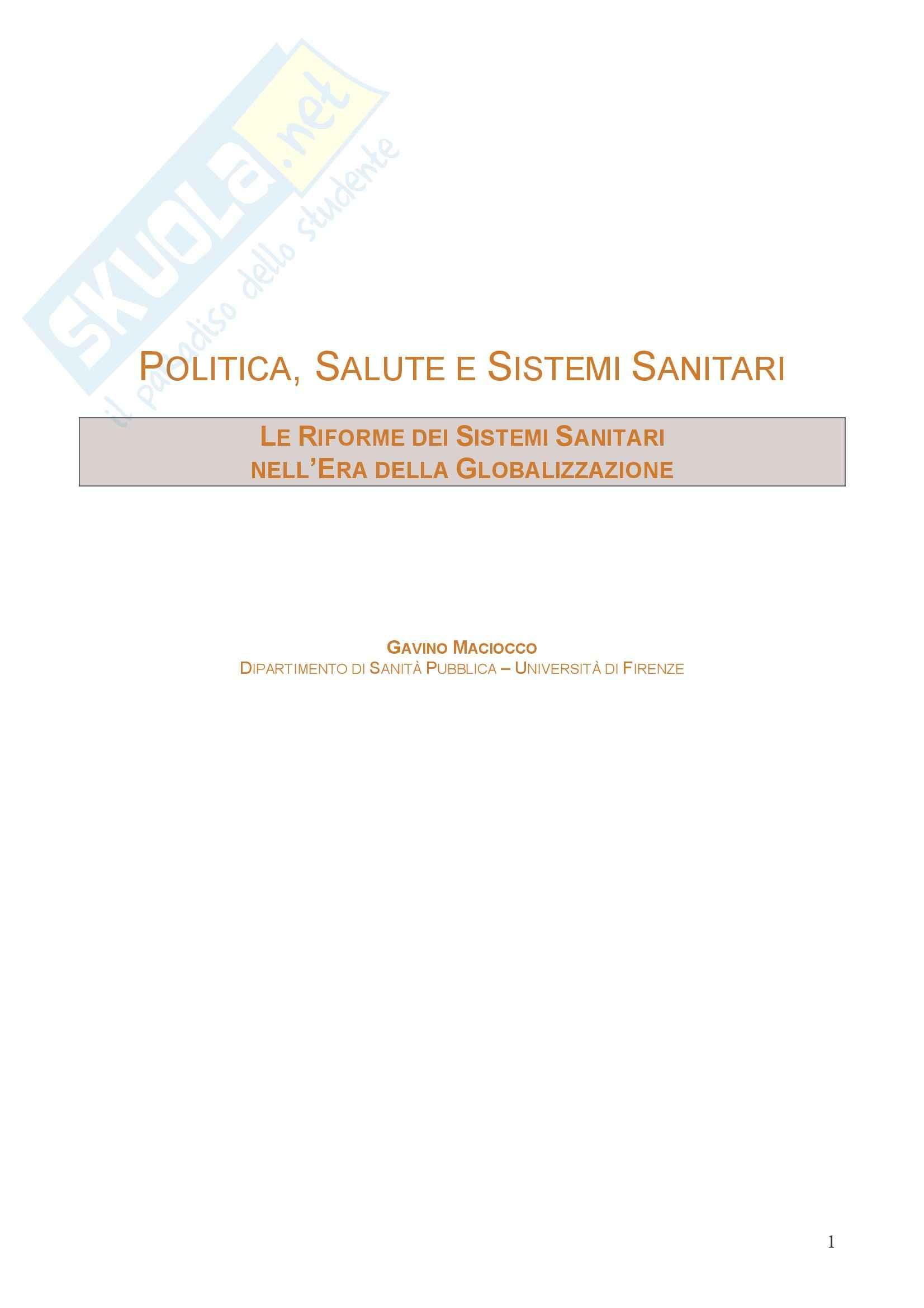 Politica, salute e sistemi sanitari