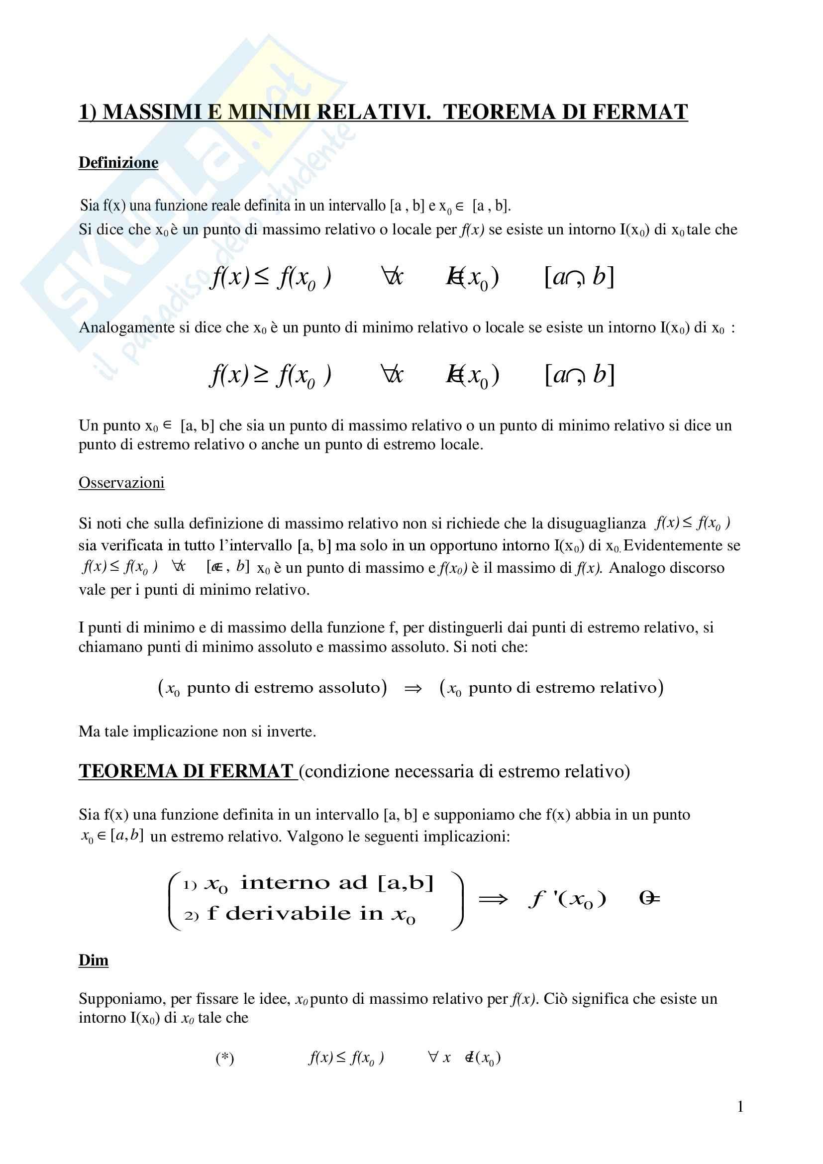 Analisi matematica I - il teorema di Fermat