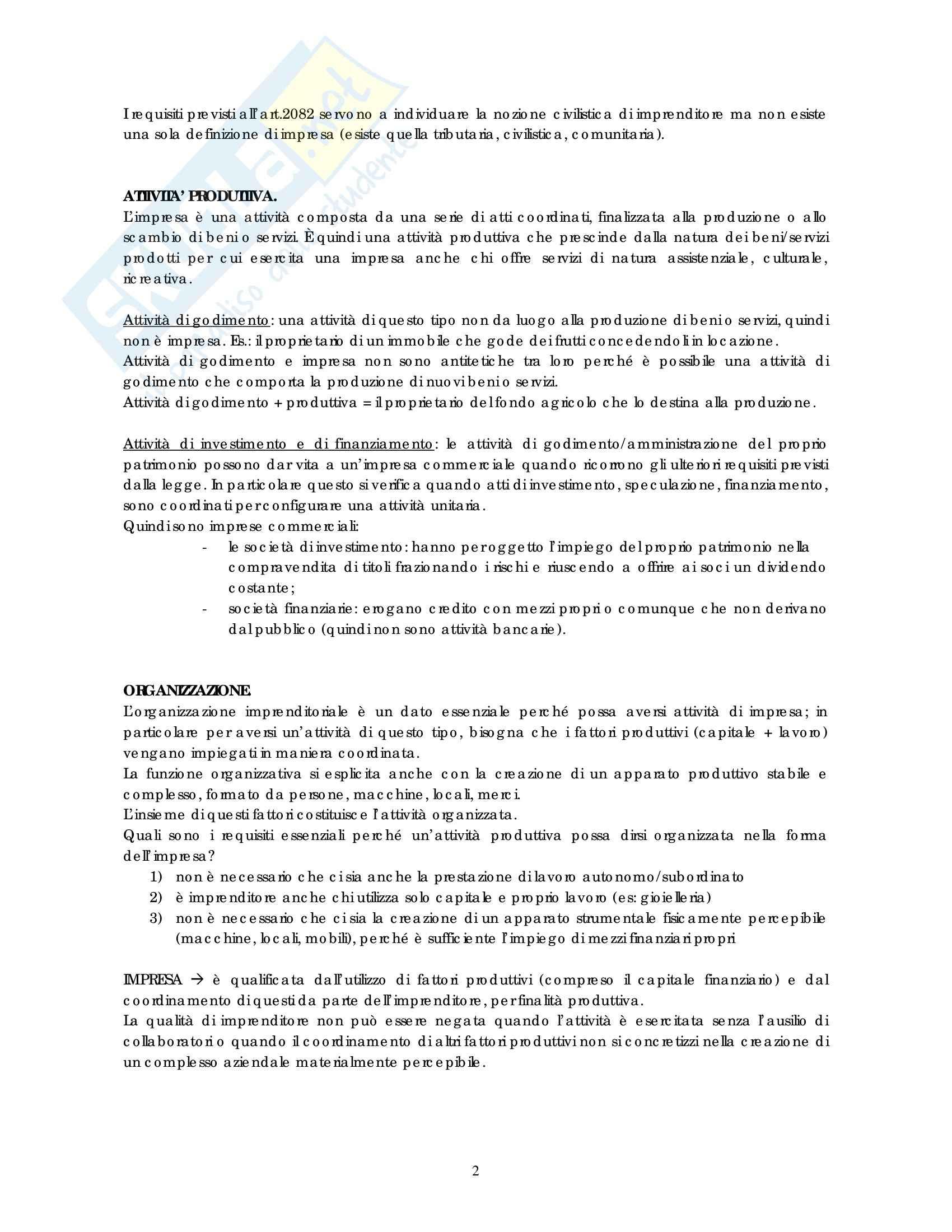 Riassunto esame Diritto commerciale, prof. Weigmann, libro consigliato Manuale di diritto commerciale, Campobasso: imprenditore Pag. 2
