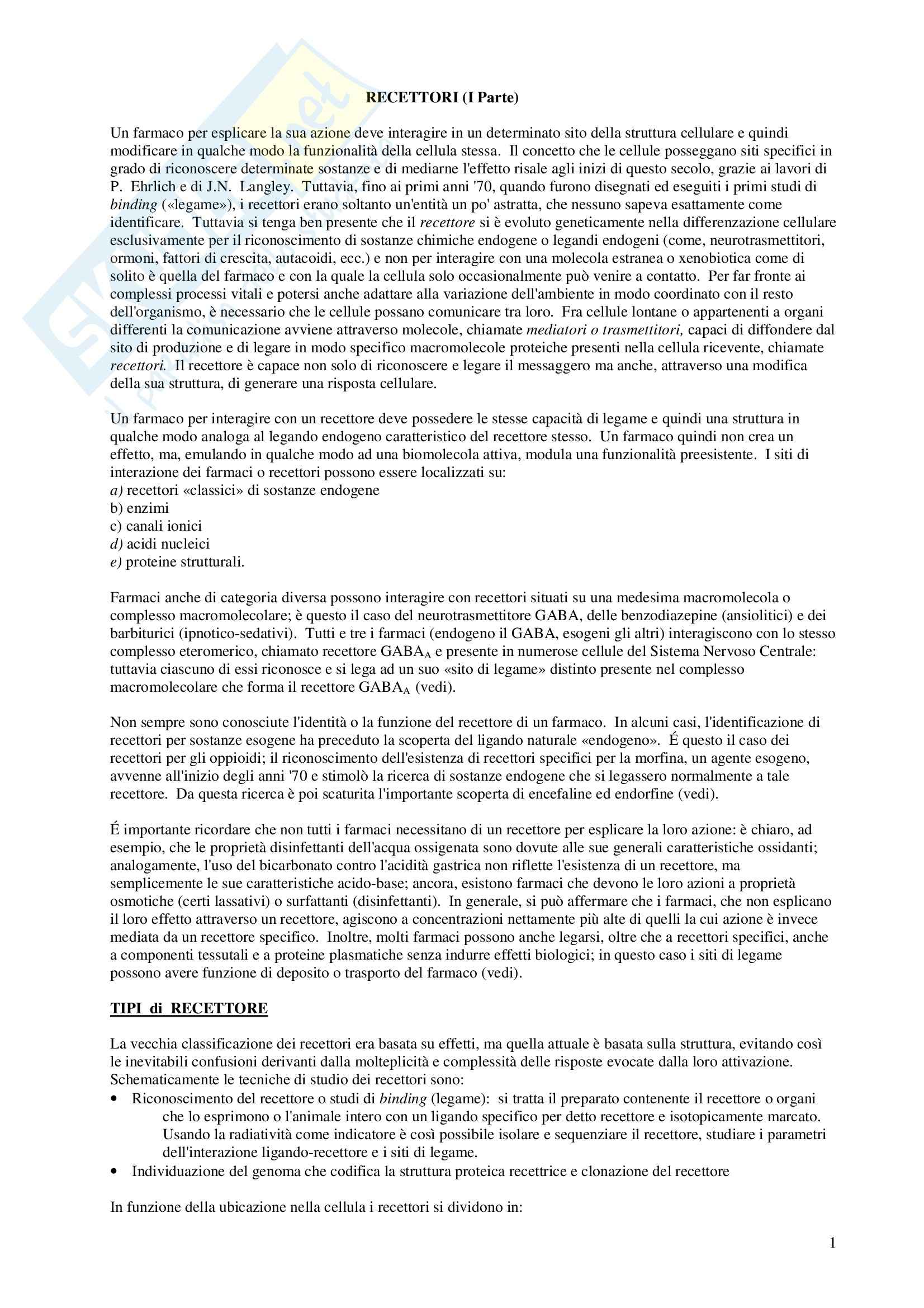Chimica farmaceutica - recettori prima parte