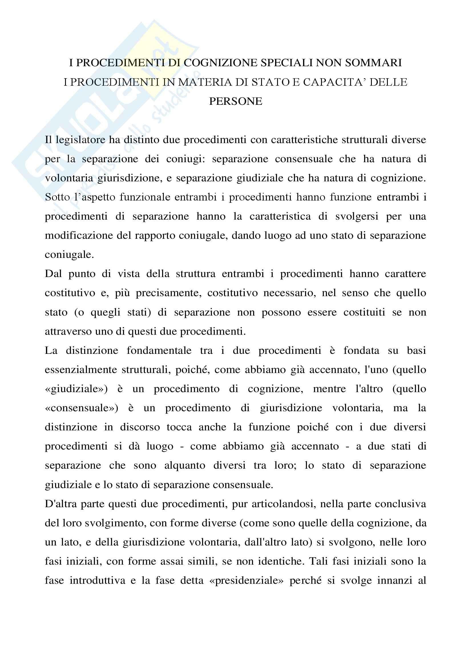 Diritto processuale civile - i procedimenti di cognizione speciali non sommari - Appunti