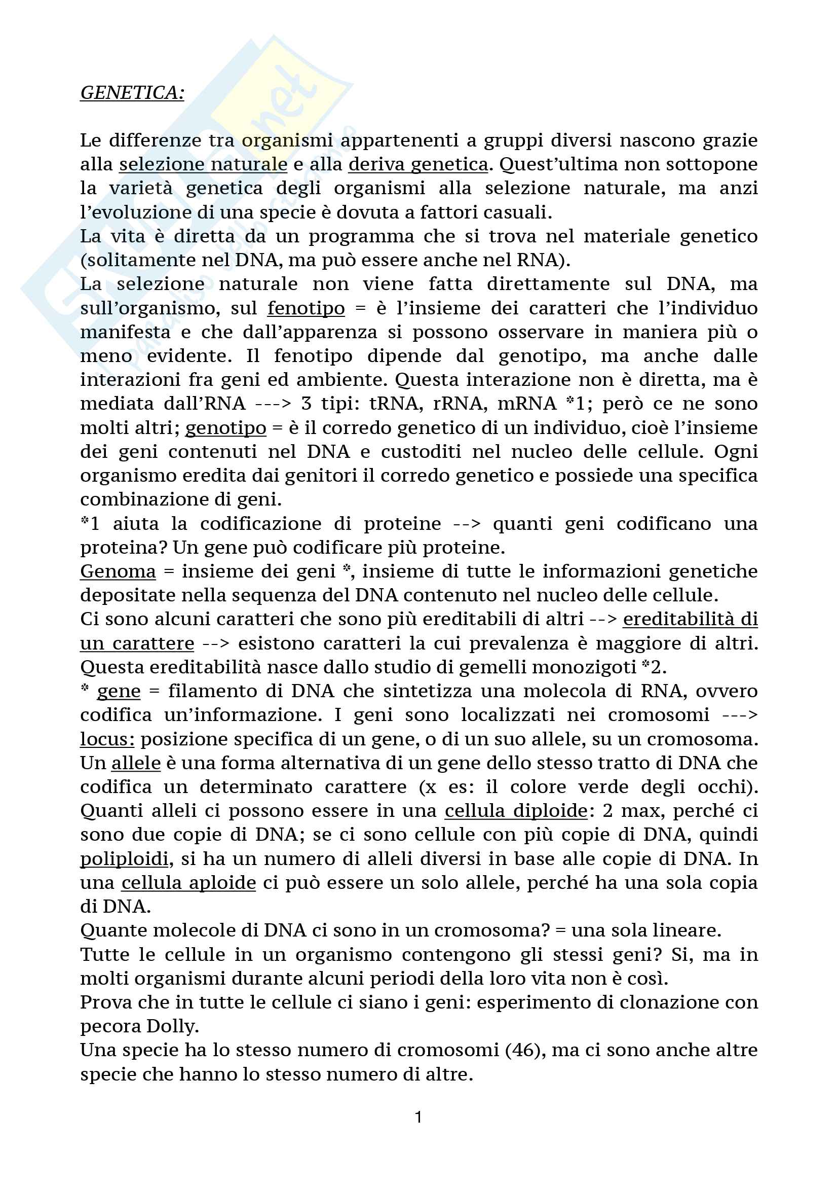 Genetica - Citologia ed Istologia