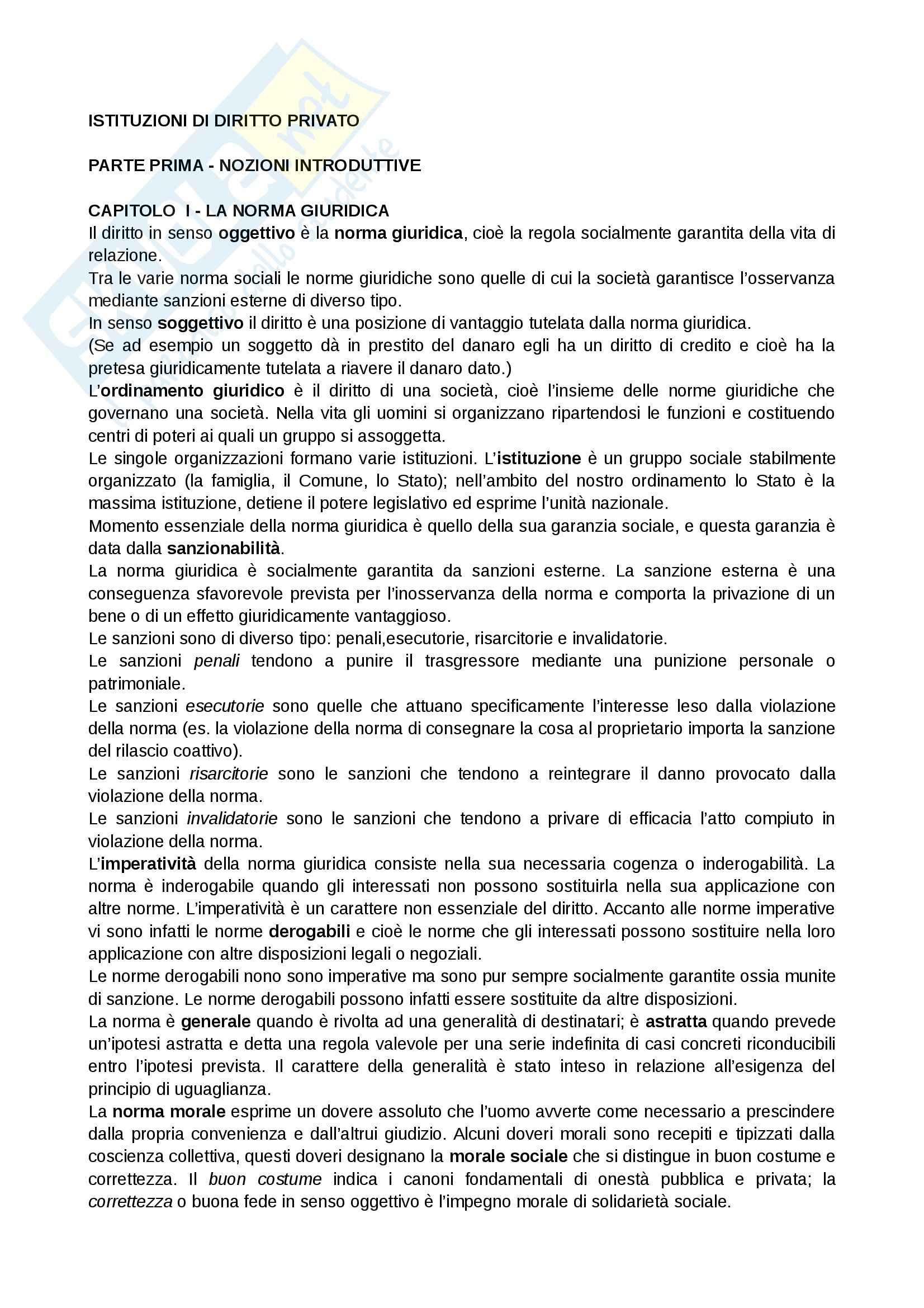 Riassunto esame Giornalismo, prof. Bianca, libro consigliato Istituzioni di diritto privato, Bianca