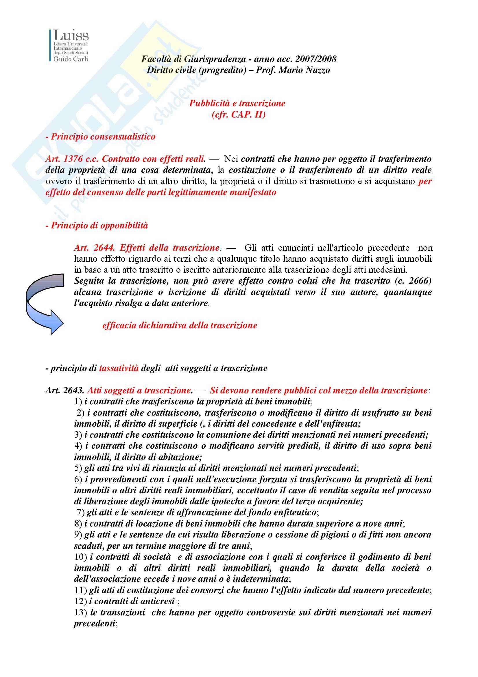 Diritto civile - pubblicità e trascrizione