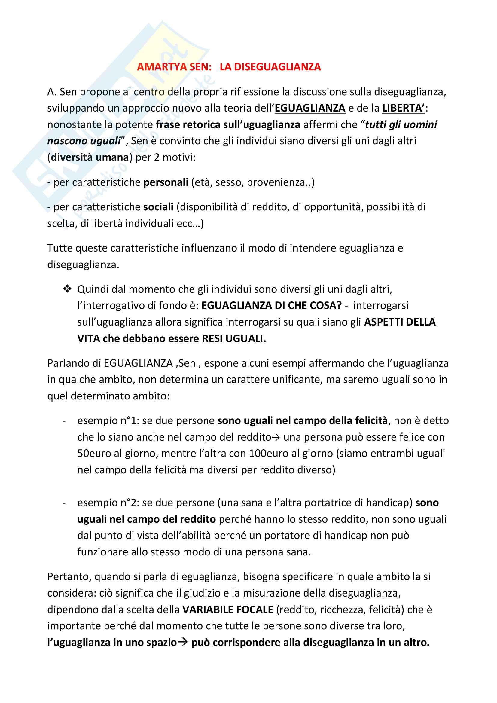 """Riassunto esame Storia della Filosofia, prof. Longato, libro consigliato """"La diseguaglianza"""", Amartya Sen"""