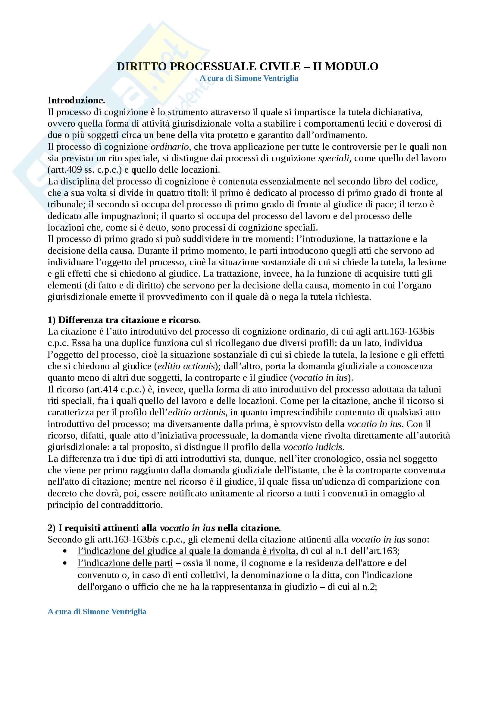 Diritto processuale civile (II Modulo) - Il processo di cognizione