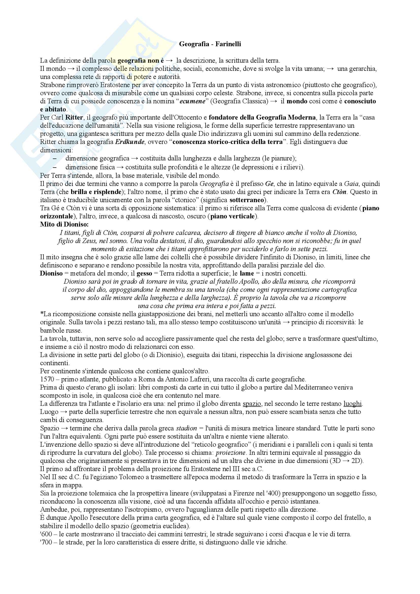 """Riassunto esame geografia della comunicazione, prof. Bonazzi, libro consigliato """"Geografia"""" - F. Farinelli"""