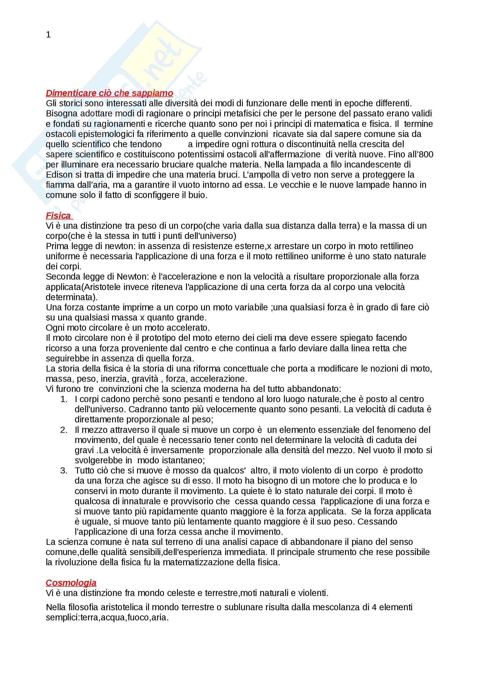 Riassunto esame Storia della scienza, prof. Vaccari, libro consigliato La nascita della scienza moderna in Europa, Rossi