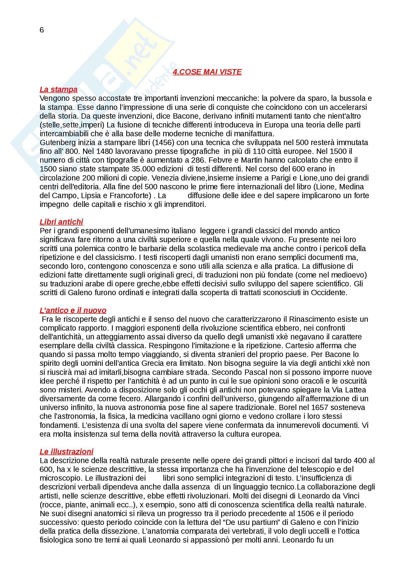 Riassunto esame Storia della scienza, prof. Vaccari, libro consigliato La nascita della scienza moderna in Europa, Rossi Pag. 6