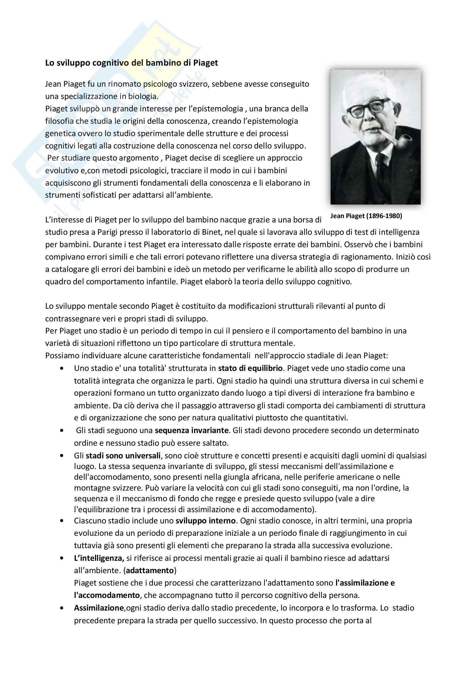 Teoria di Piaget sullo sviluppo cognitivo del bambino, Psicologia dello sviluppo