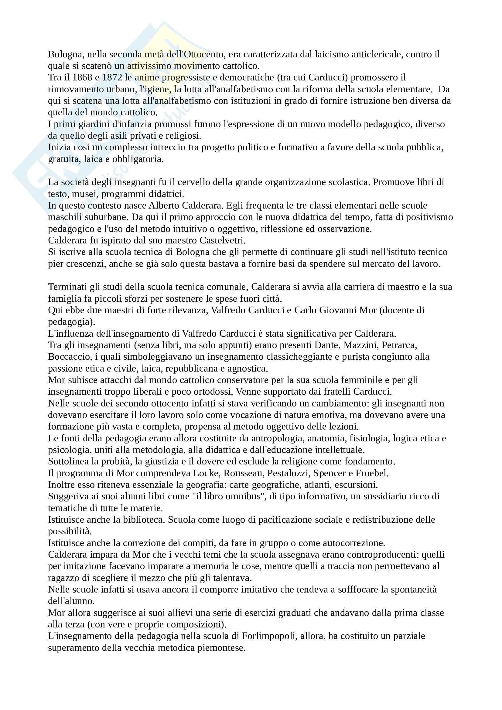 Riassunto esame Storia dell'educazione, docente D'ascenzo, libro consigliato Alberto Calderara, Microstoria di una professione docente tra Otto e Novecento, D'ascenzo