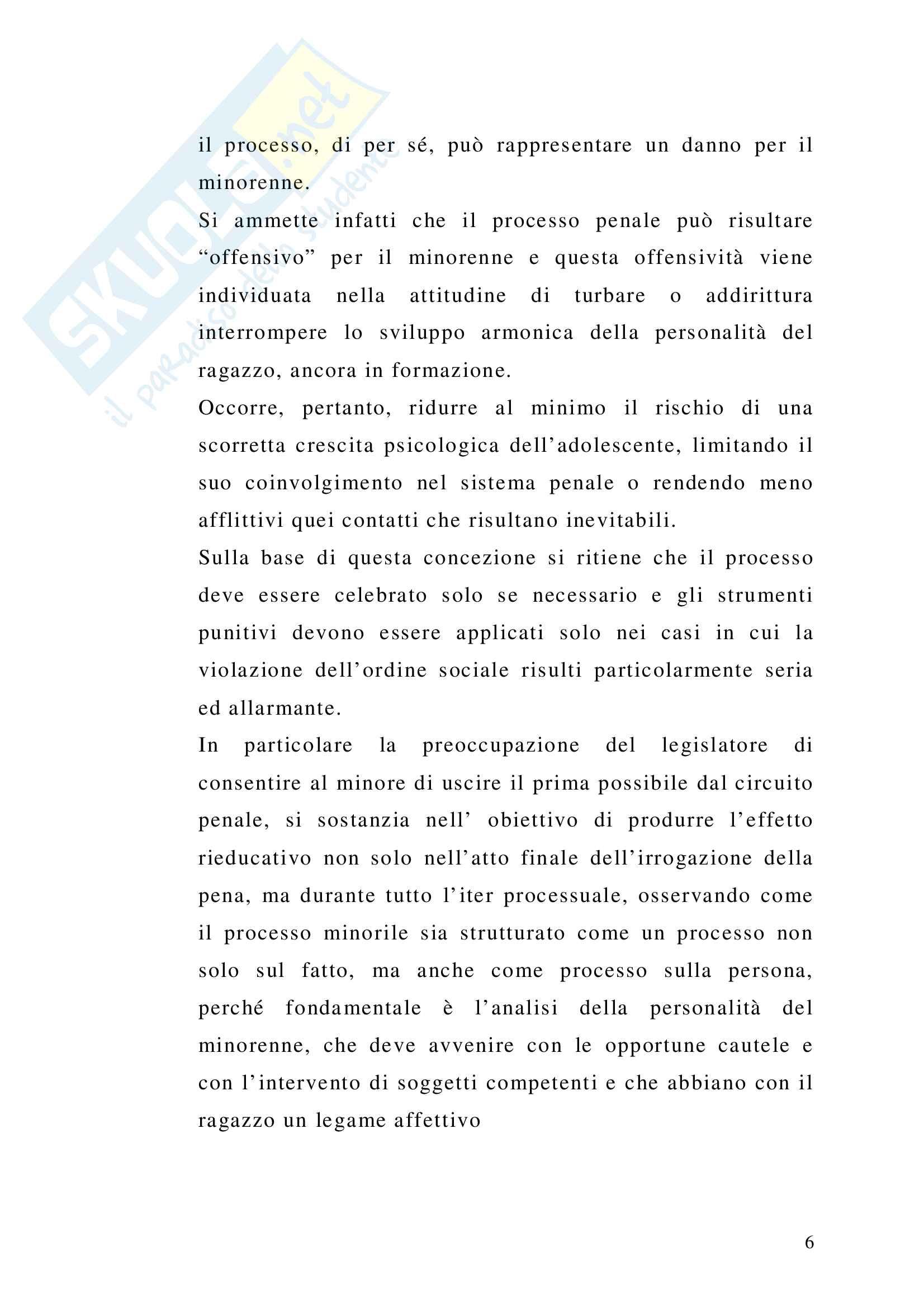 Il principio di minima offensività nel processo penale minorile Pag. 6