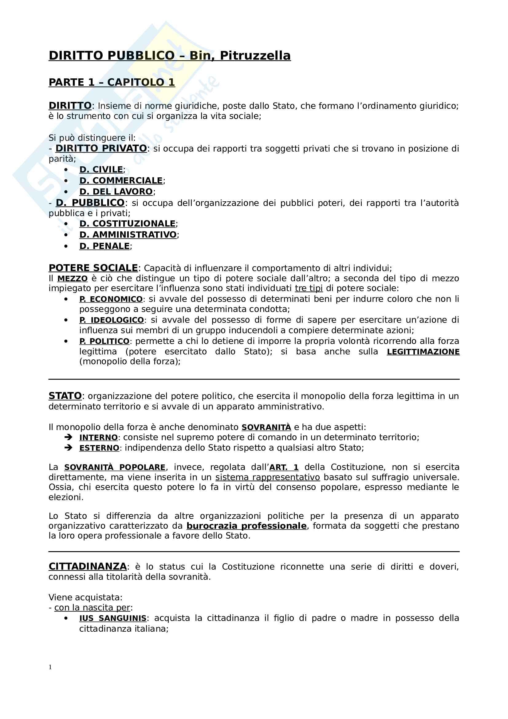 Riassunto esame Istituzioni di diritto pubblico, prof. Di Plinio, libro consigliato Diritto Pubblico, Bin Pitruzzella