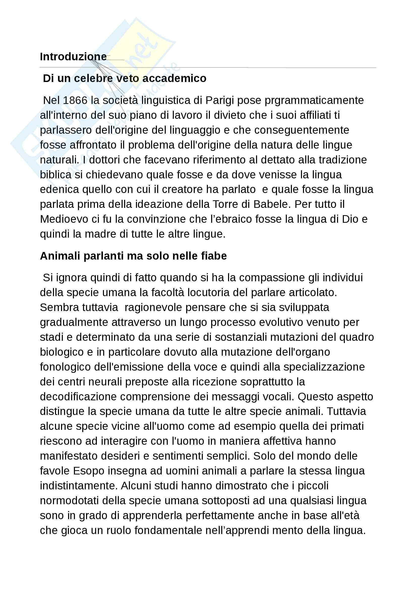 Riassunto esame Linguistica generale, prof. Banfi, libro consigliato Lingue Extraeuropee