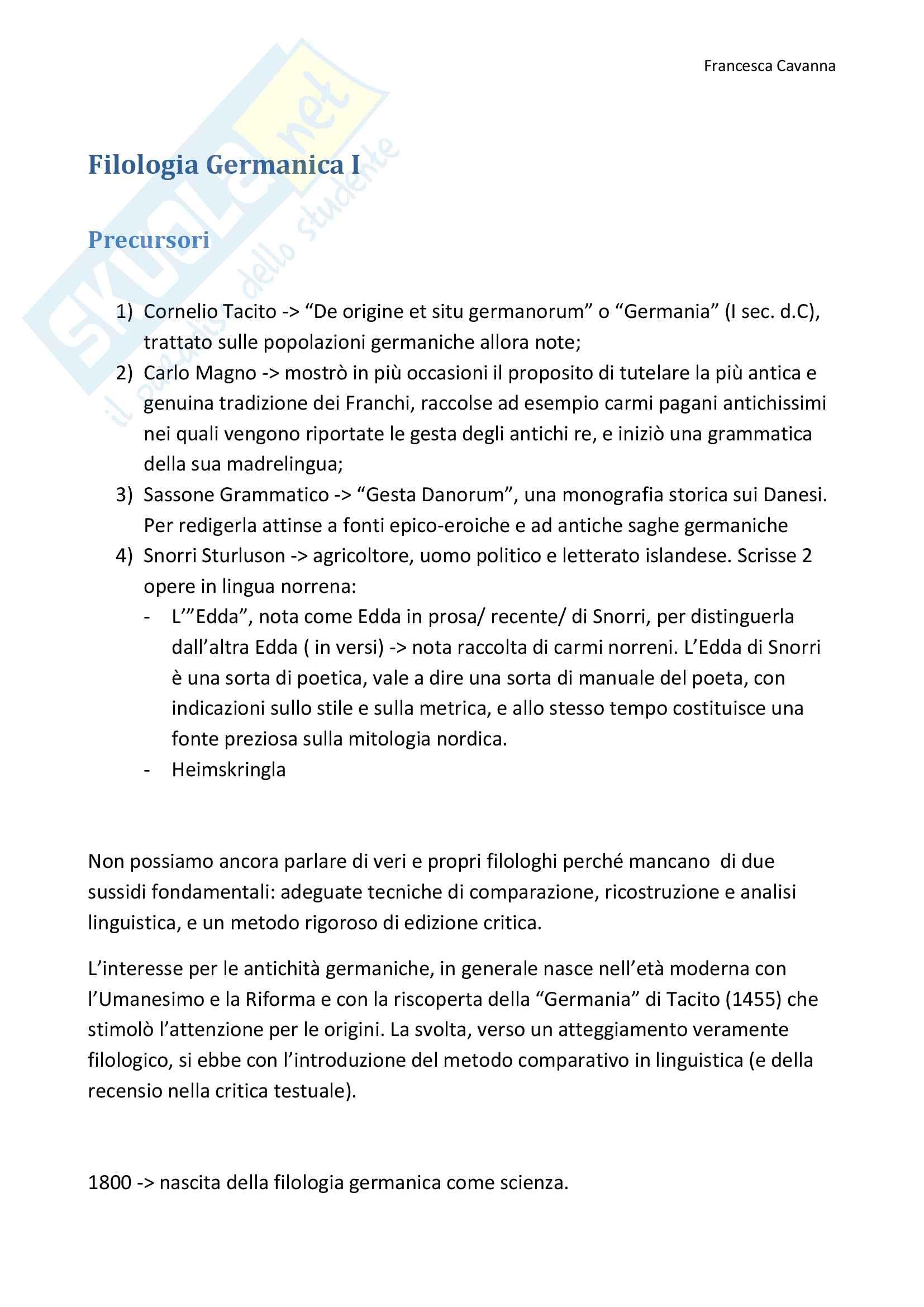 Filologia Germanica I