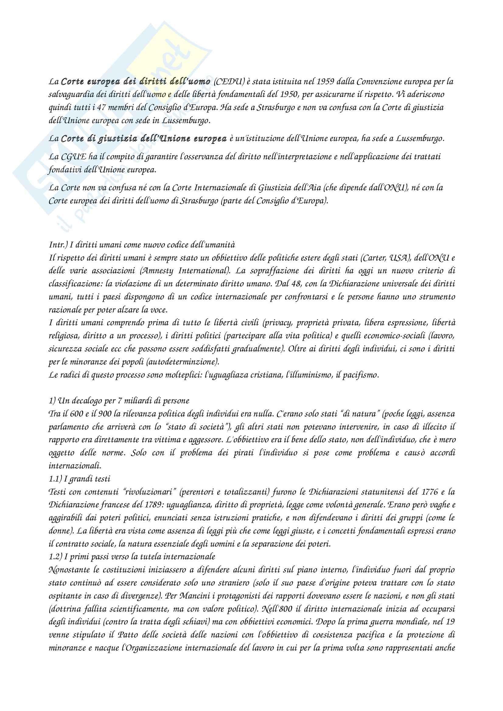 Riassunto esame Diritto degli scambi culturali, prof. Scevi, libro consigliato I Diritti Umani Oggi, Cassese