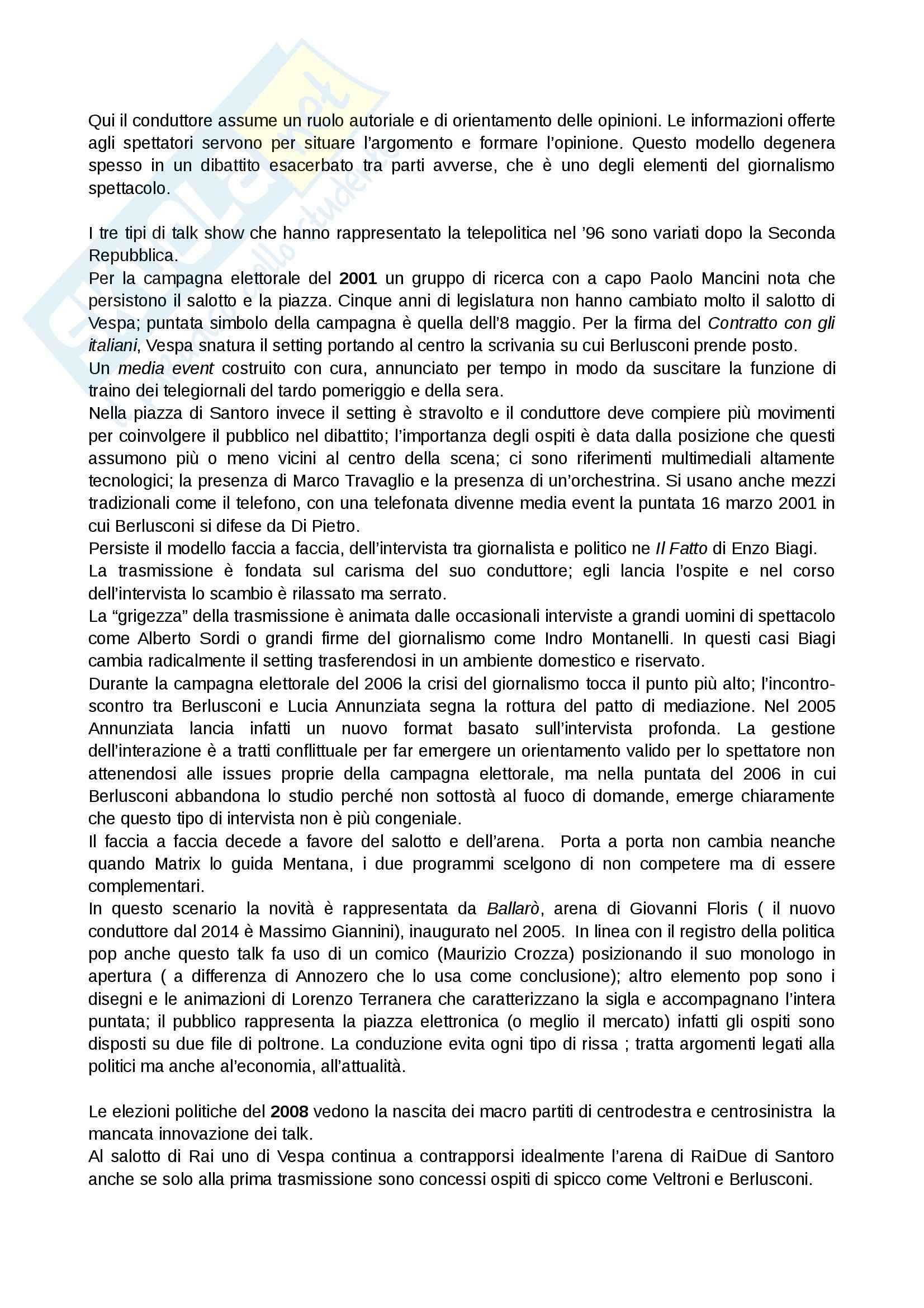 Riassunto esame Giornalismo radiotelevisivo, prof. Morcellini, libro consigliato La macchina della parola, Ruggiero Pag. 11
