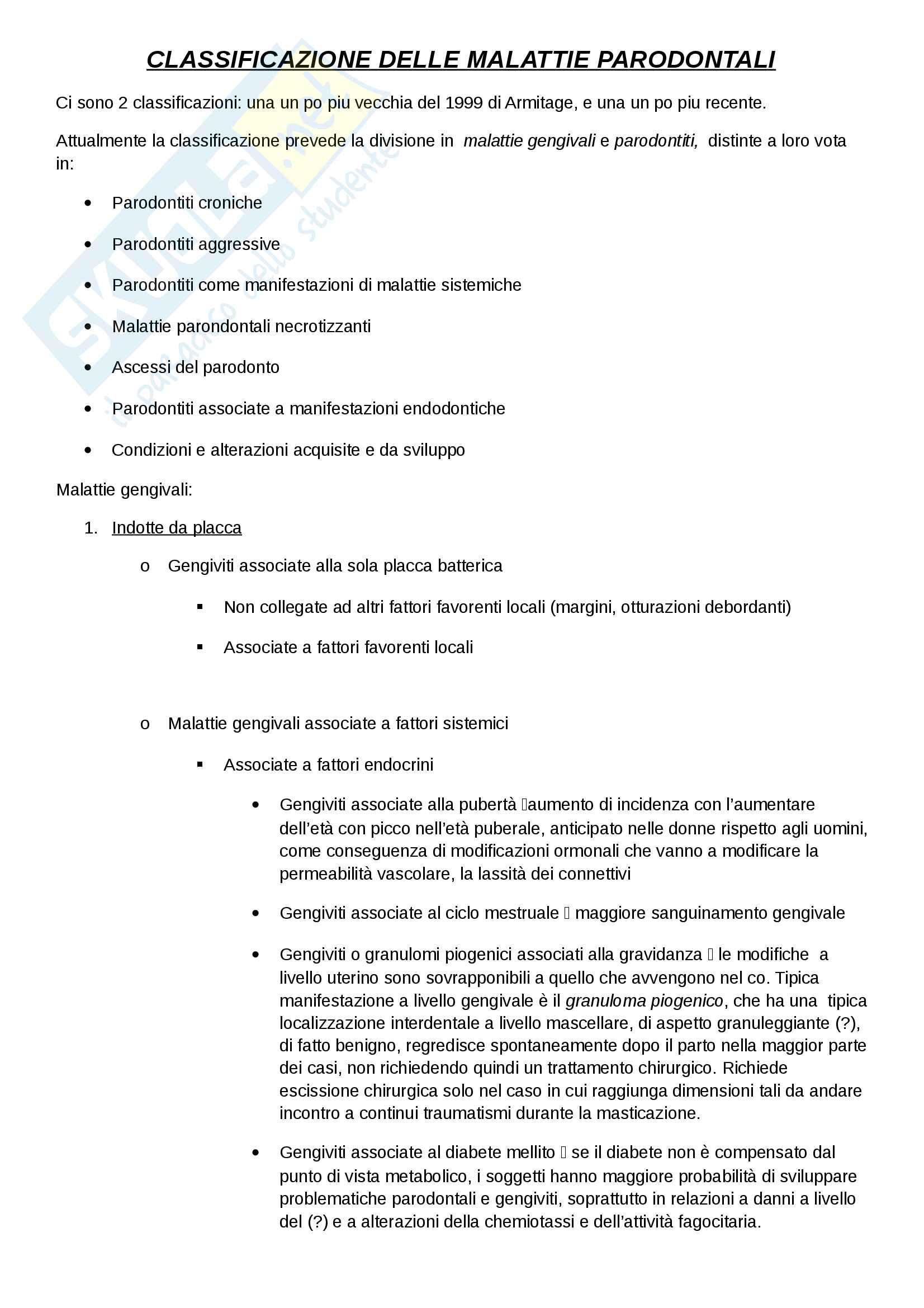 Classificaz. e eziologia della malattia parodontale