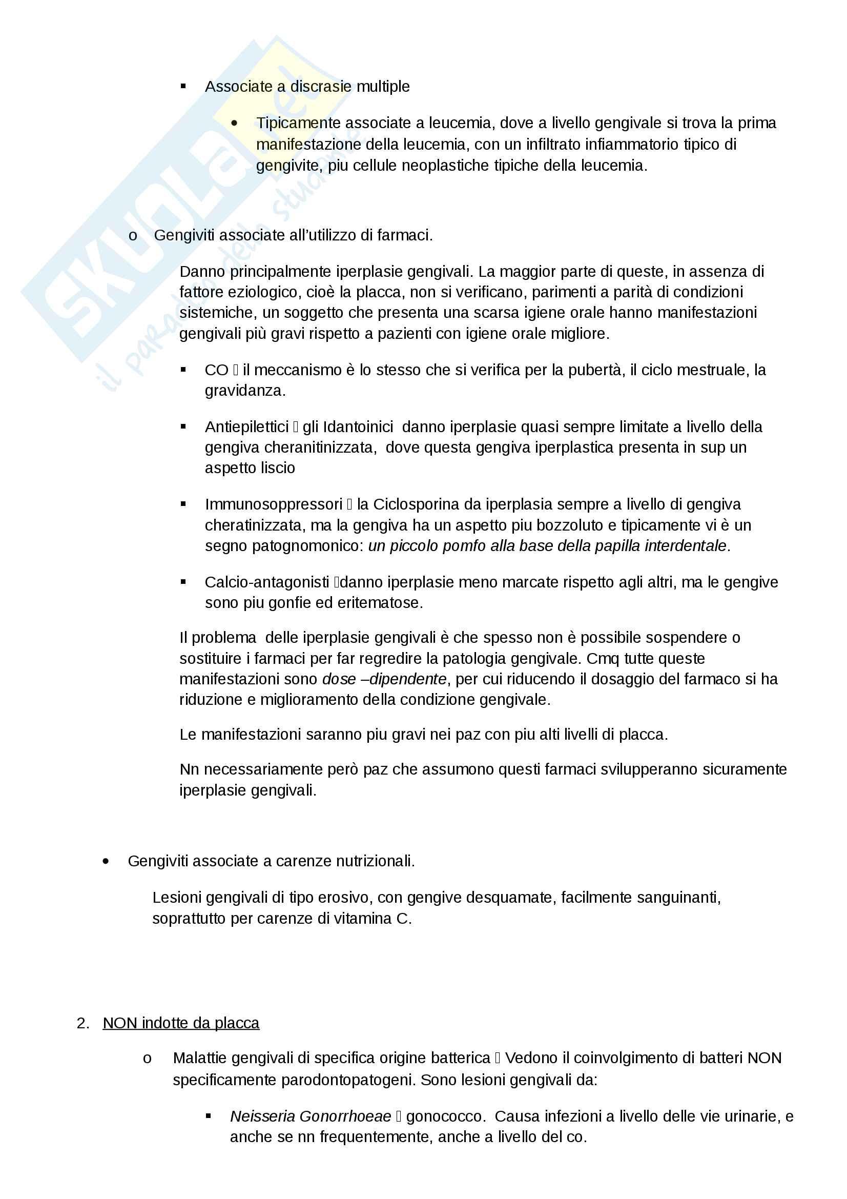 Classificaz. e eziologia della malattia parodontale Pag. 2