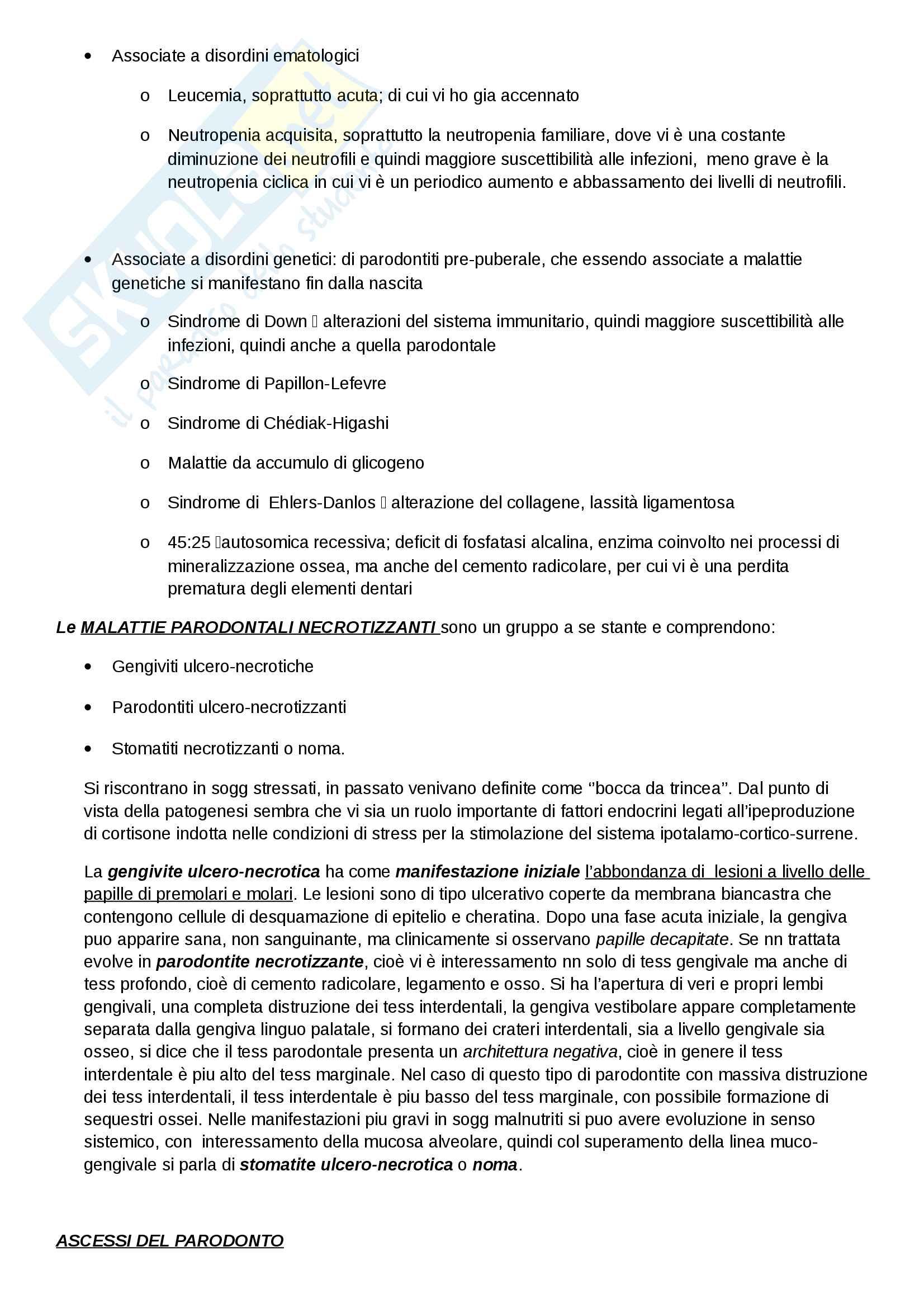 Classificaz. e eziologia della malattia parodontale Pag. 6