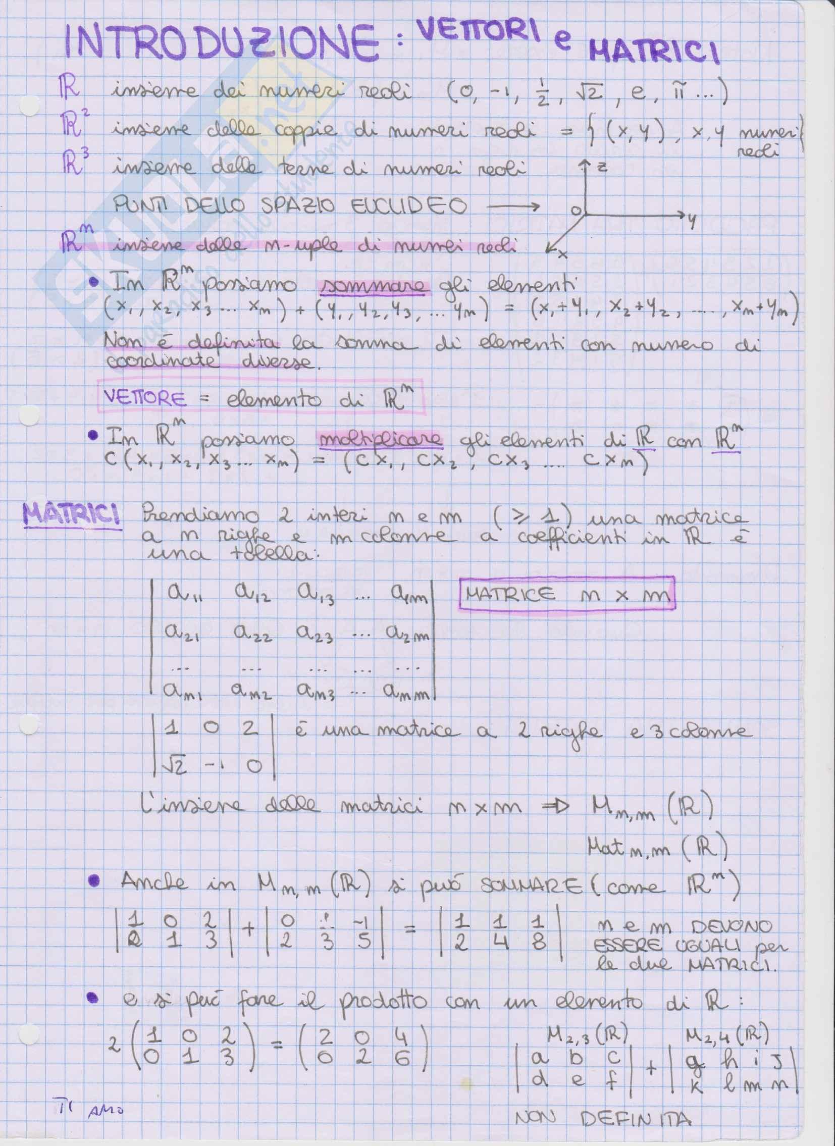 Appunti Algebra lineare