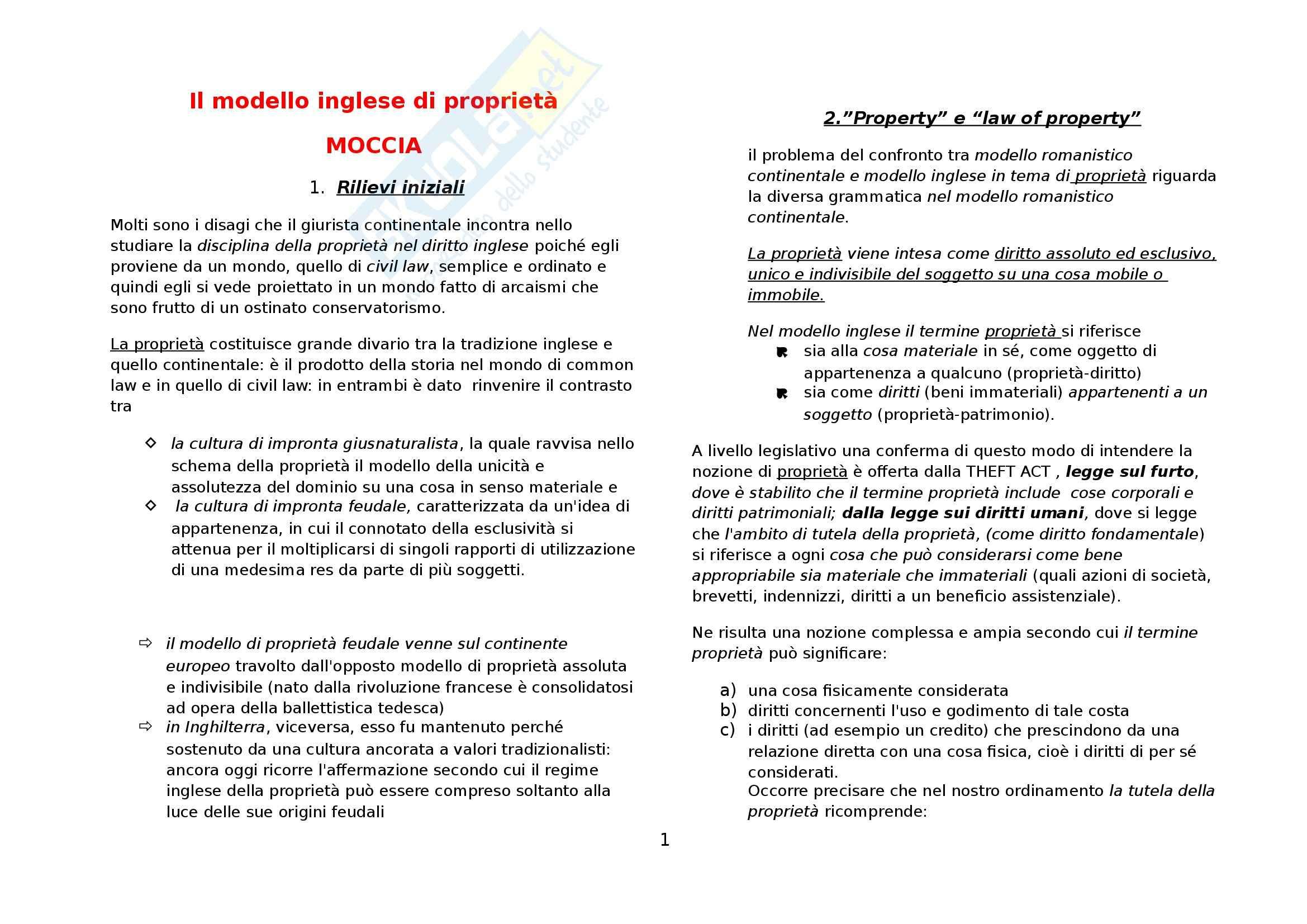 Riassunto esame Diritto privato comparato, prof. Di Landro, libro consigliato Moccia sul modello inglese di proprietà
