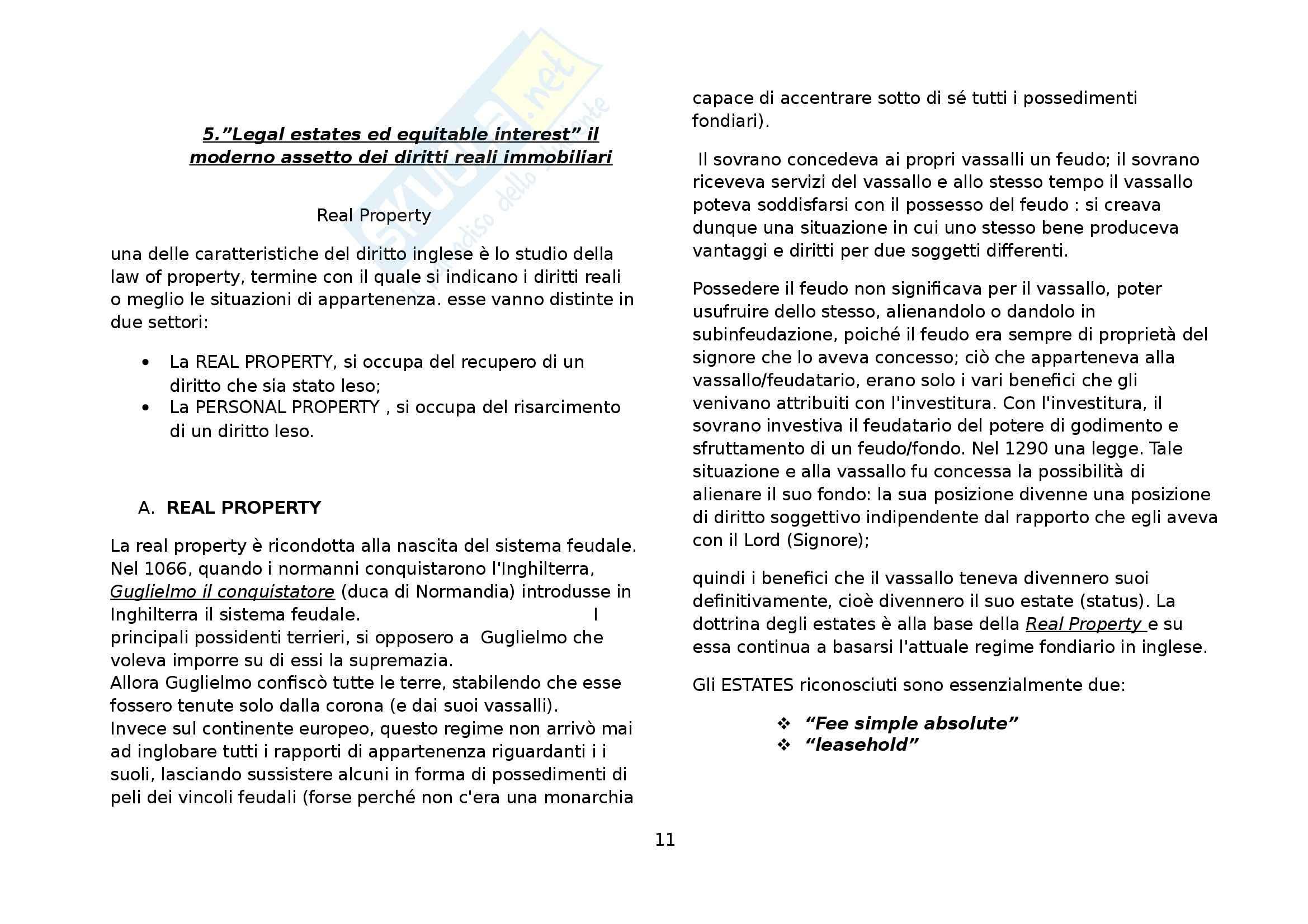 Riassunto esame Diritto privato comparato, prof. Di Landro, libro consigliato Moccia sul modello inglese di proprietà Pag. 11