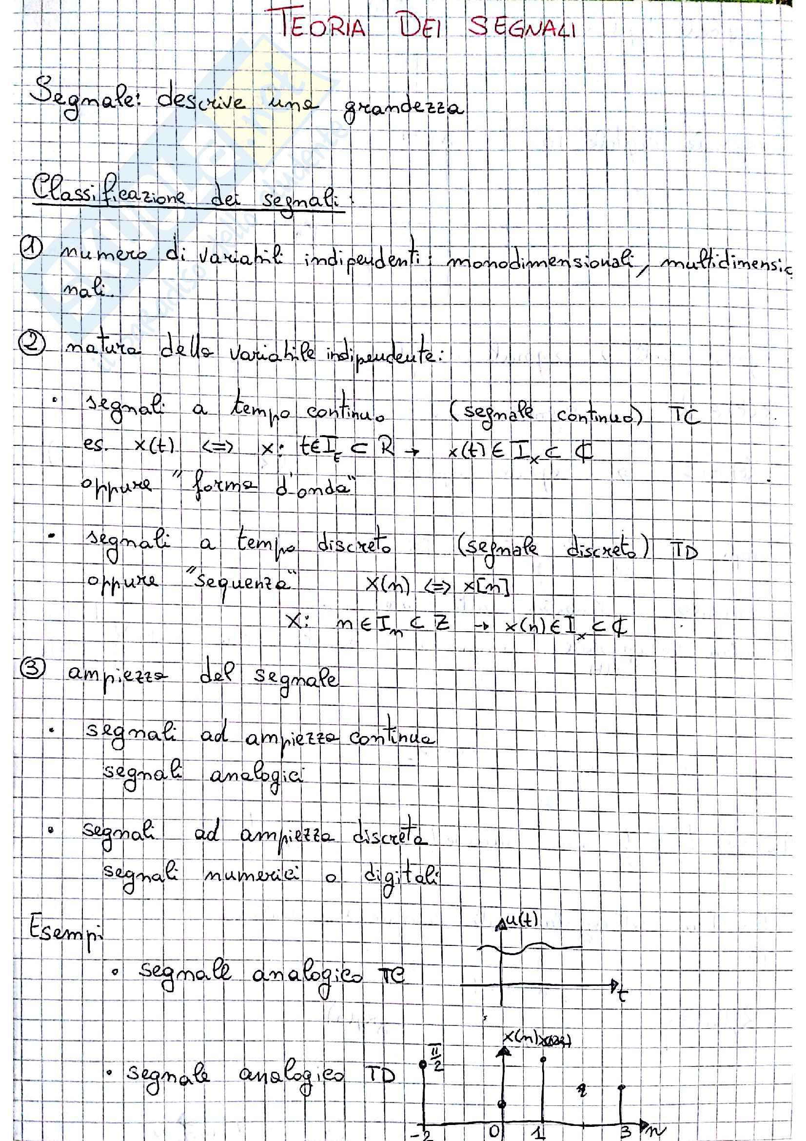 Tds-teoria dei segnali parte 1