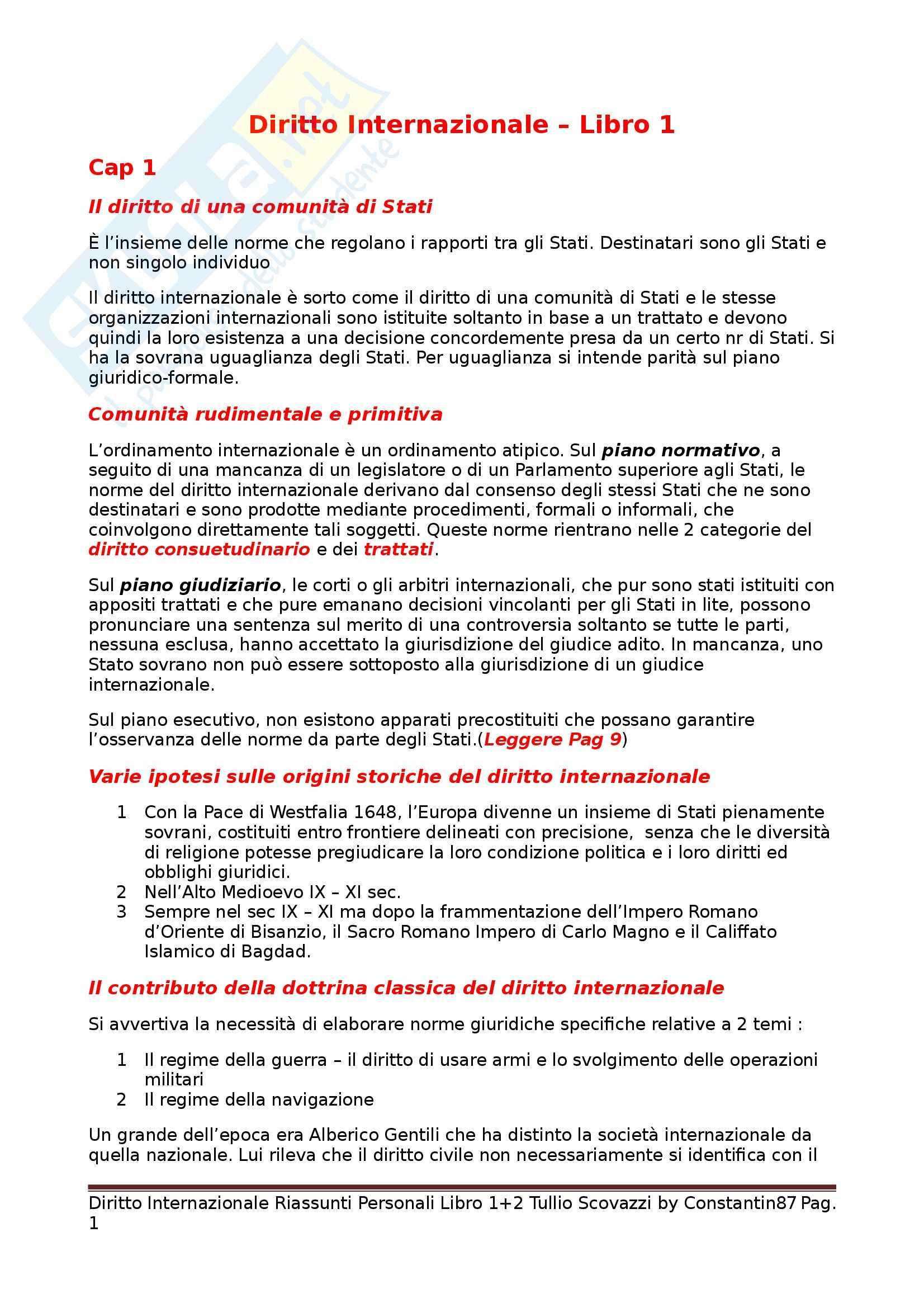 Riassunto esame Diritto Internazionale, prof. Scovazzi, libro consigliato Corso di Diritto Internazionale: Libri I e II