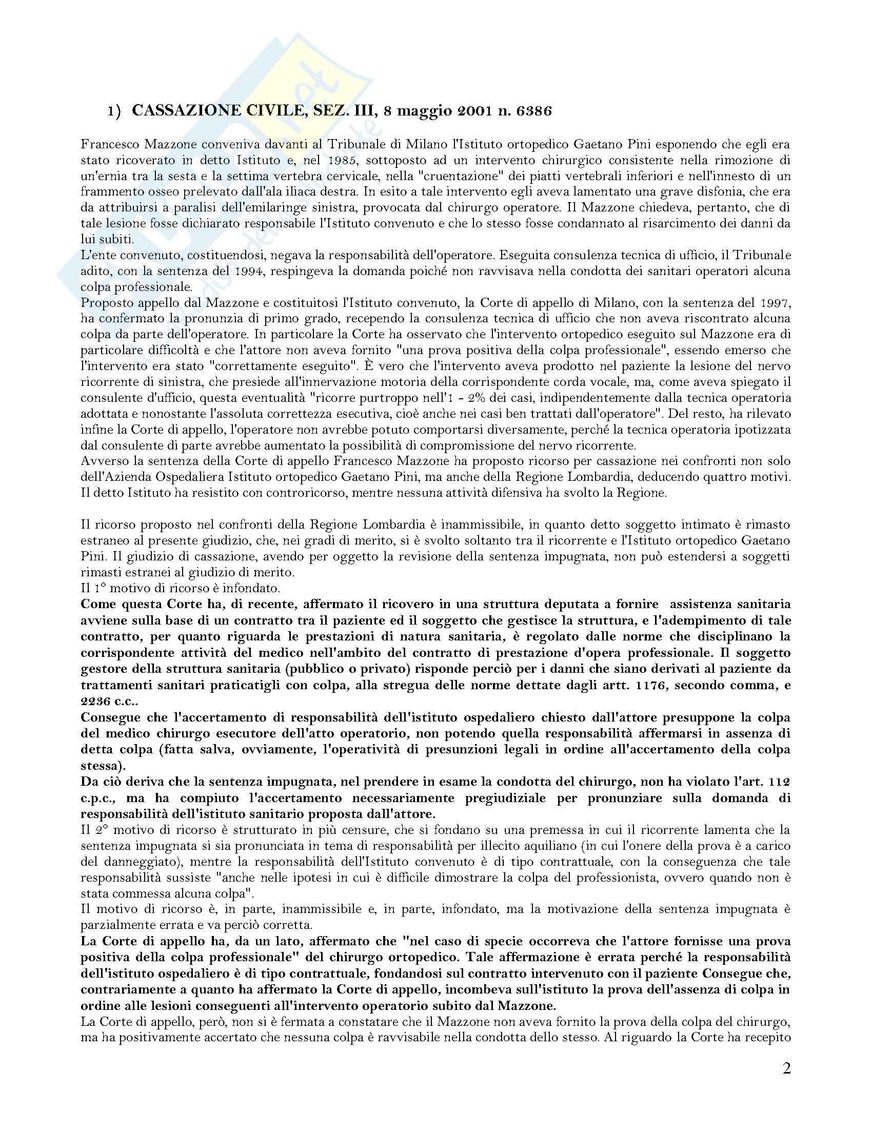 Responsabilità strutture sanitarie Pag. 2