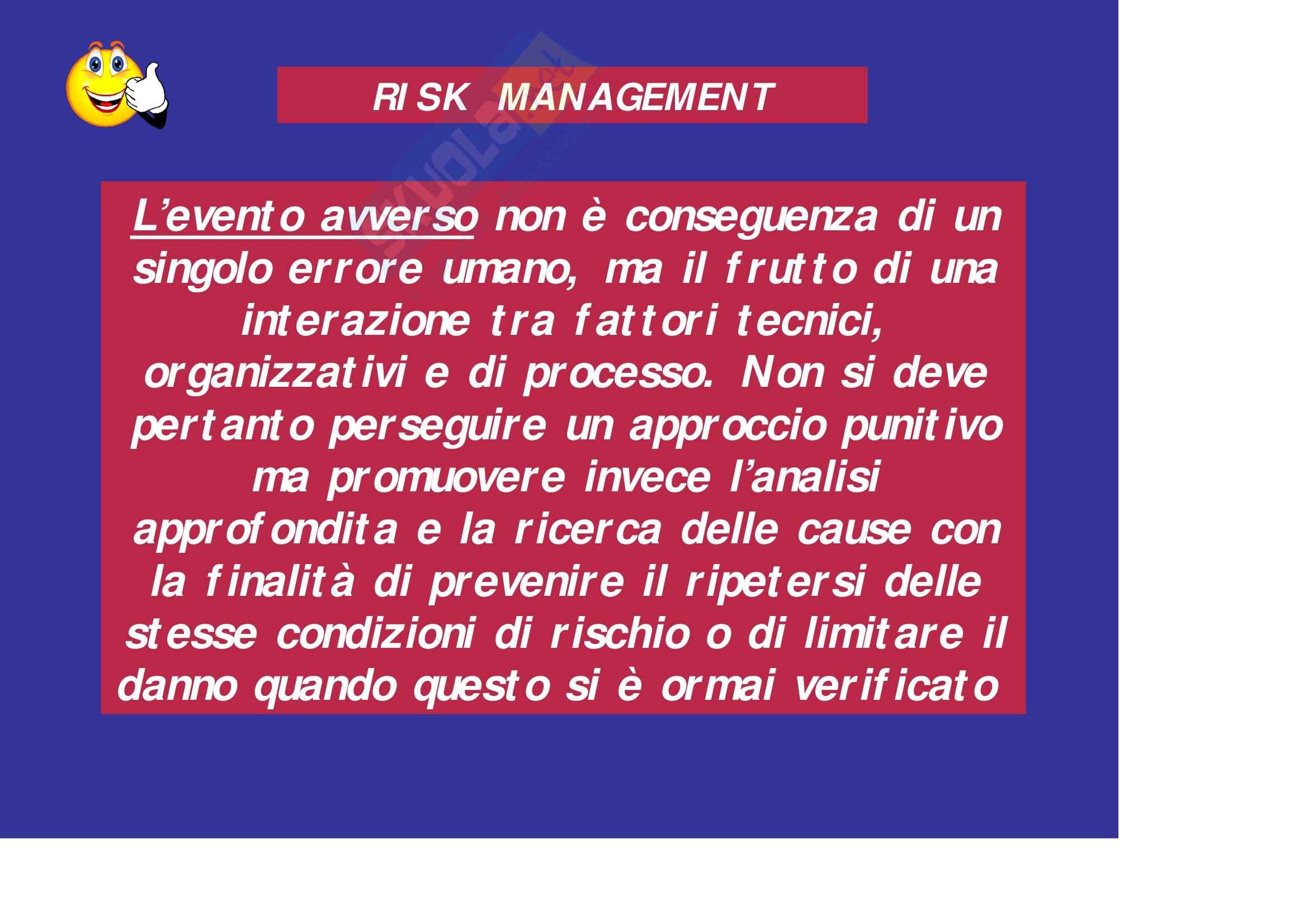 Sanità pubblica – Risk management Pag. 11