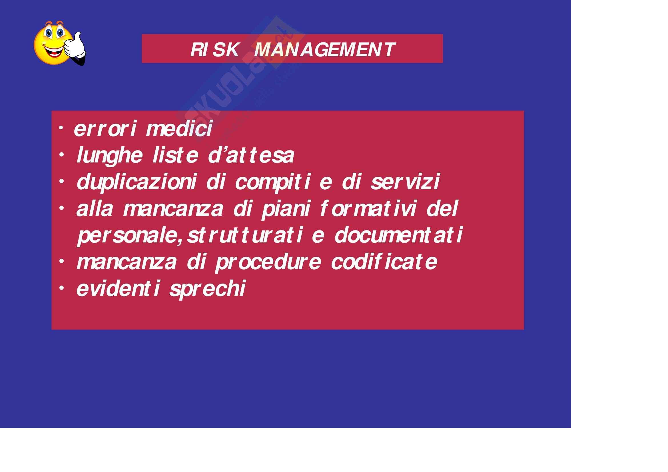 Sanità pubblica – Risk management Pag. 6