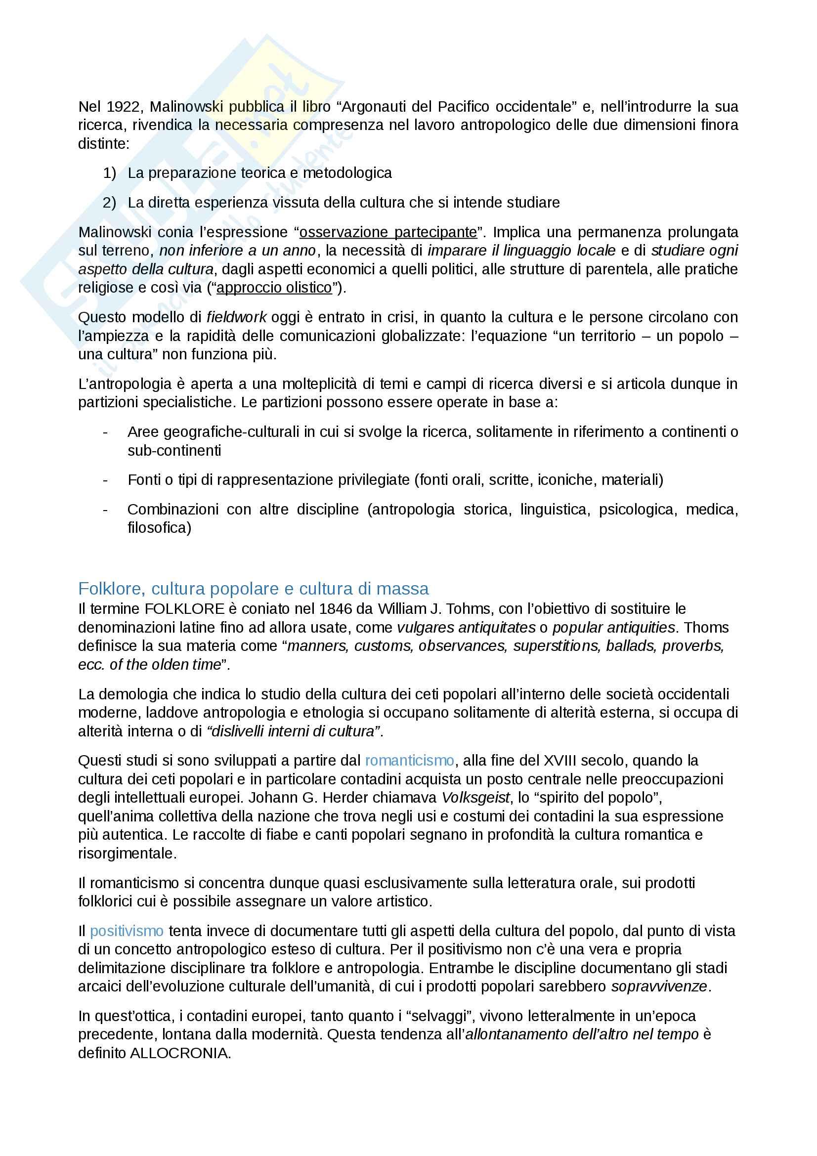 Riassunto esame Antropologia dei patrimoni culturali con la prof.ssa E. Rossi - Libri consigliati I beni culturali demoetnoantropologici e Forme di antropologia Pag. 2