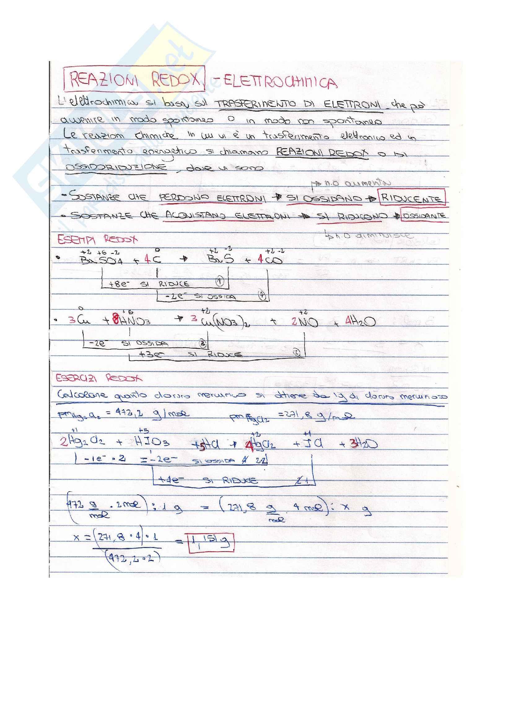 Appunti di chimica ed esempi su Reazioni redox