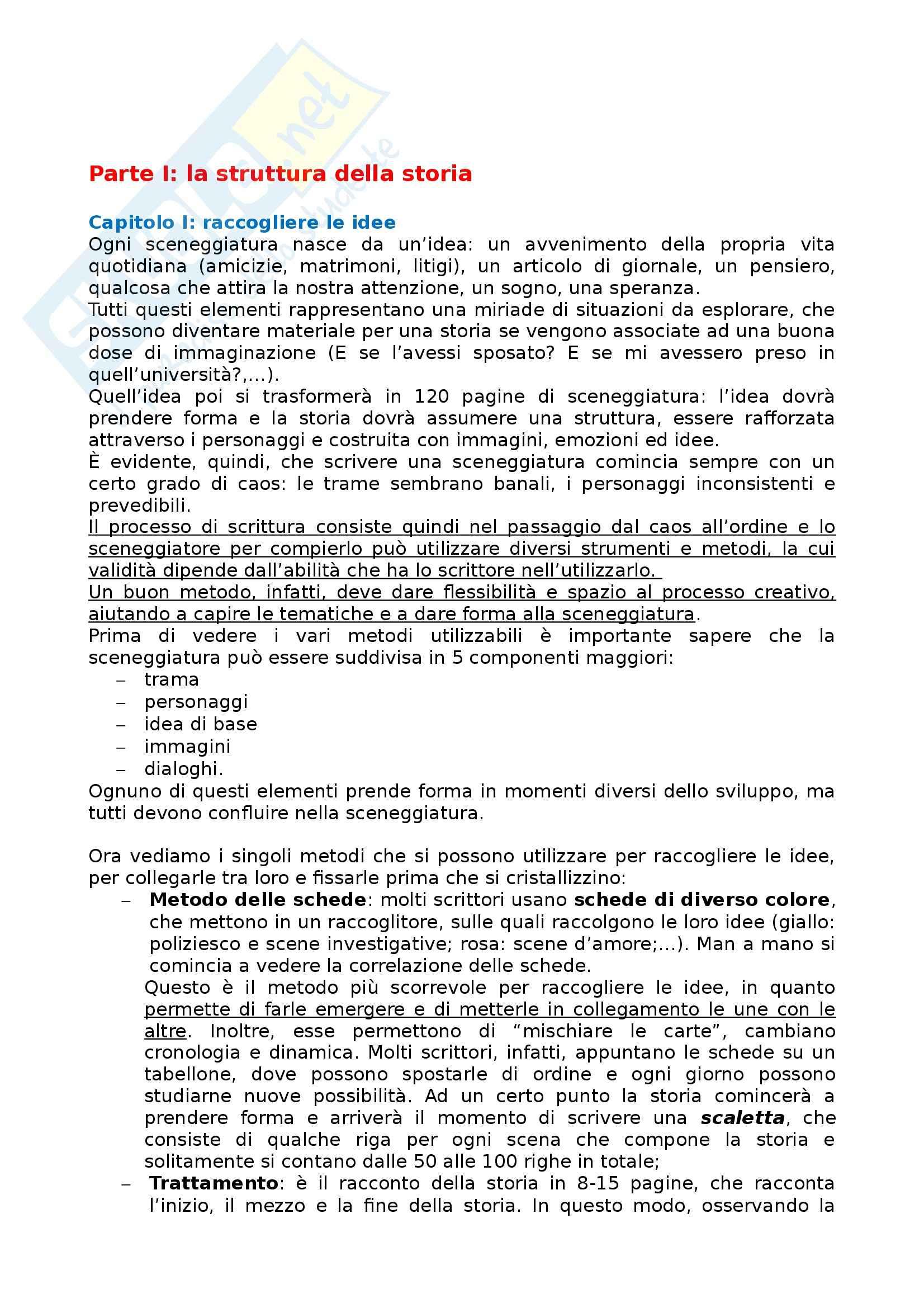 Riassunto esame Semiotica, prof. Fumagalli, libro consigliato Come scrivere una grande sceneggiatura, Seger