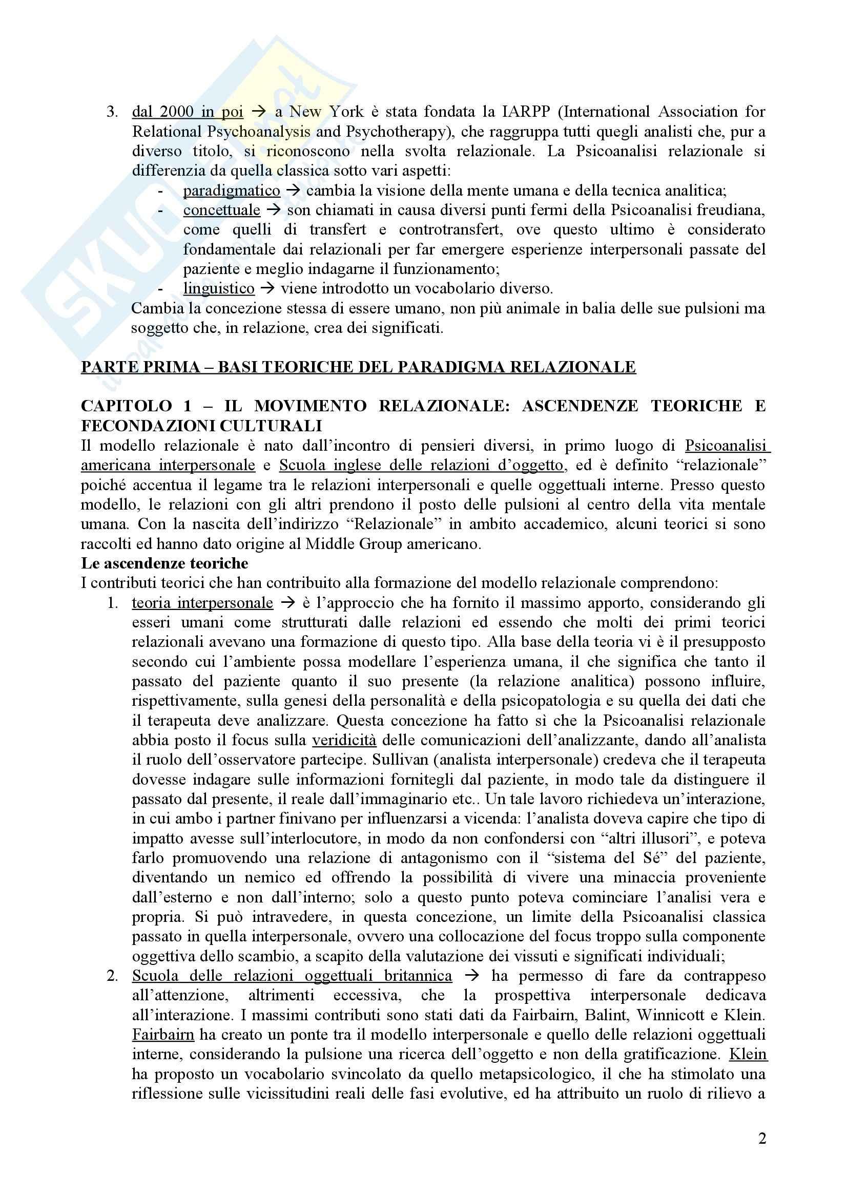 Riassunto esame Psicologia Dinamica, prof. Nespoli, libro consigliato La Svolta Relazionale, Lingiardi Pag. 2