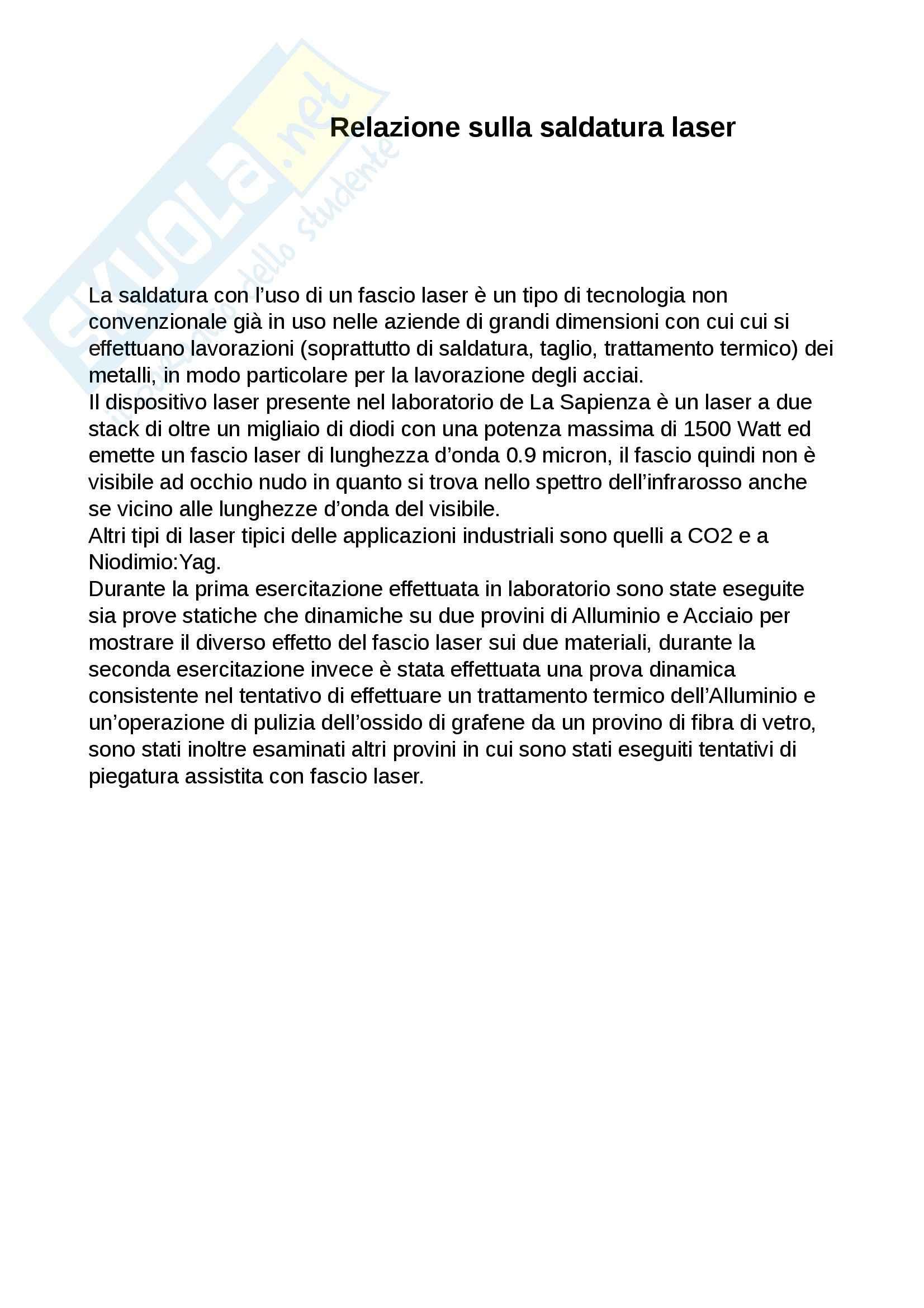 Relazione saldatura laser, Tecnologie speciali