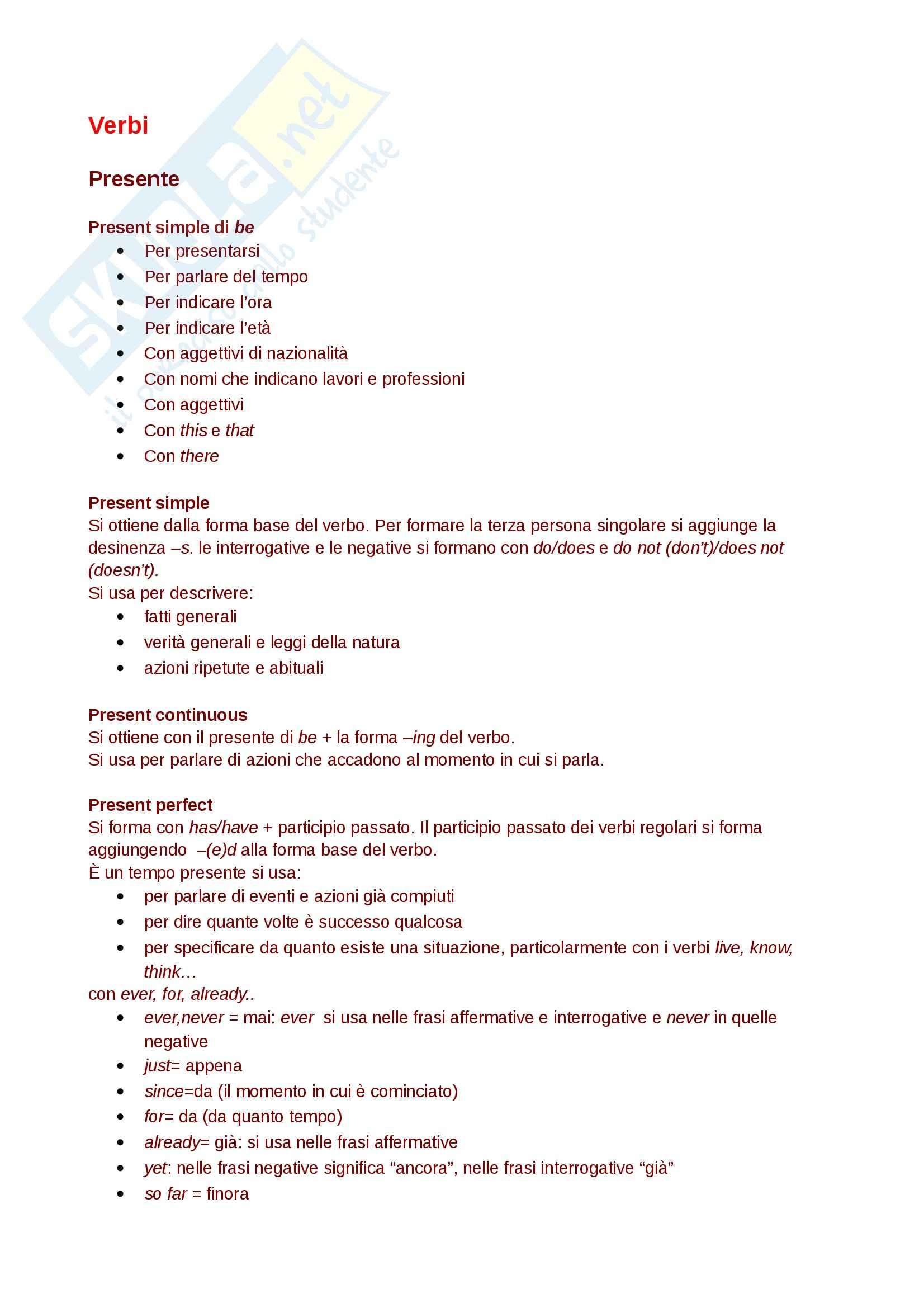 Regole di Base della grammatica inglese, livello B2