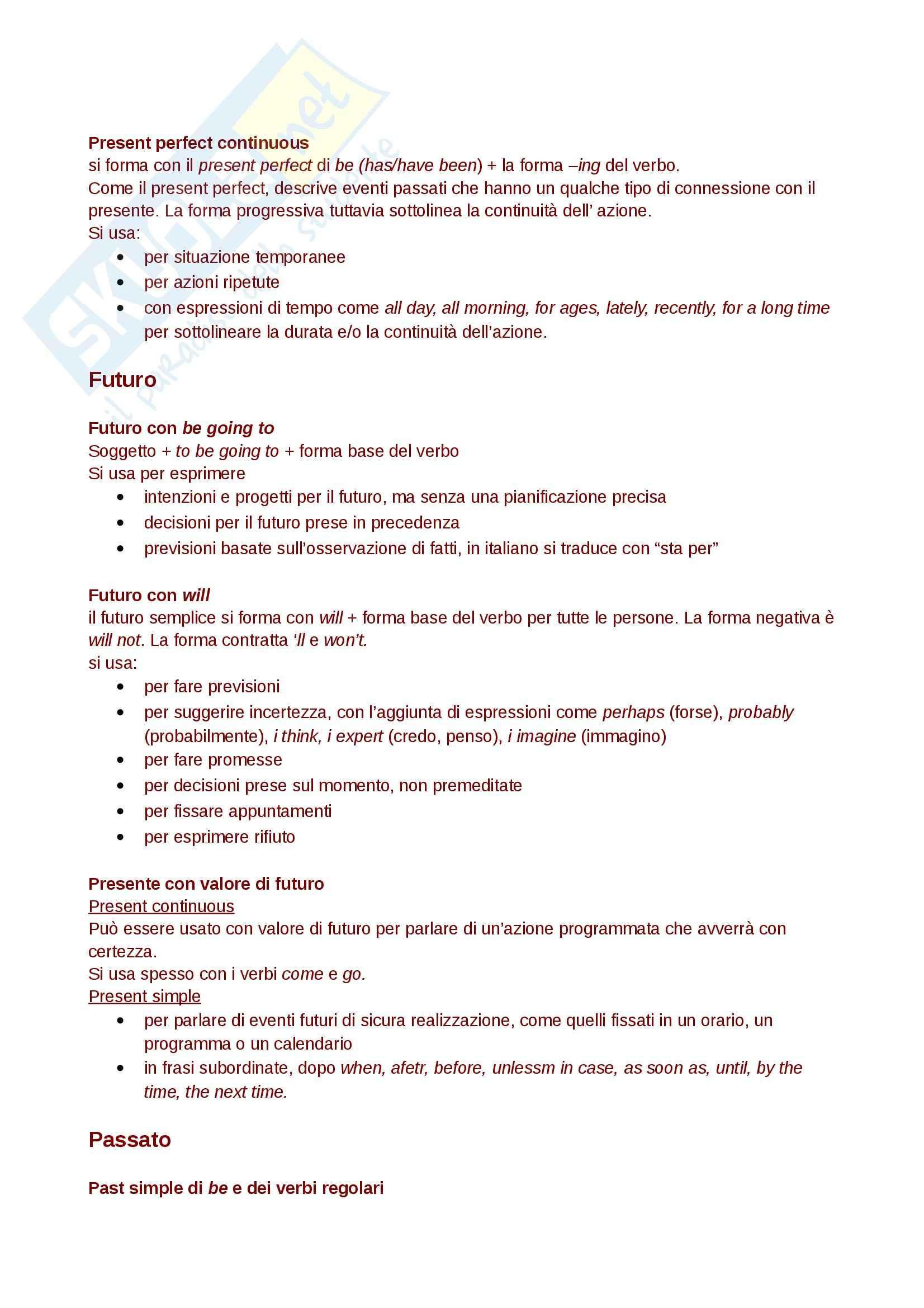 Regole di Base della grammatica inglese, livello B2 Pag. 2