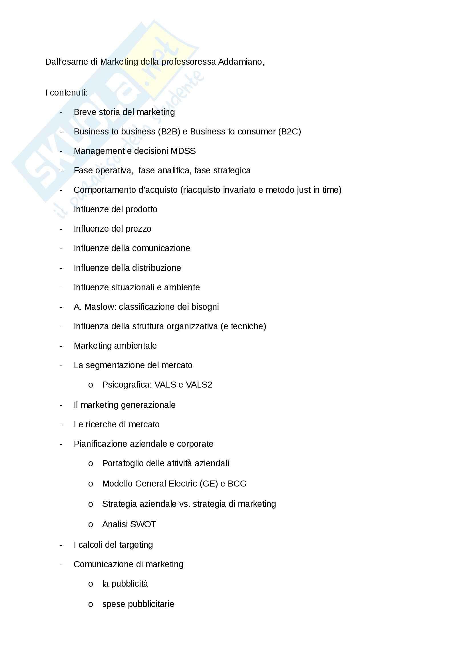 Riassunto esame Marketing, prof. Addamiano, libro consigliato Marketing di Peter, Donnelly, Pratesi