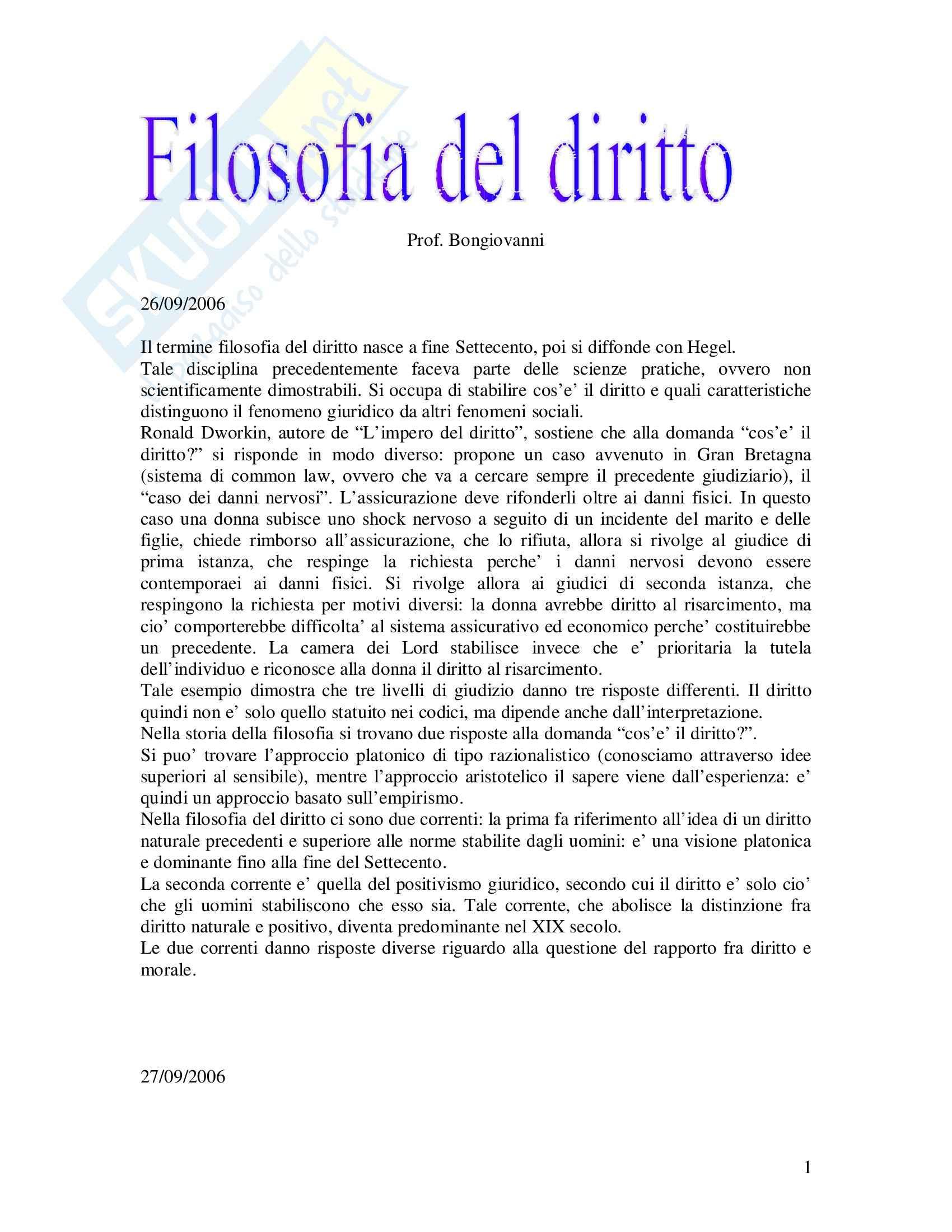 Filosofia del diritto - Riassunto esame, prof. Bongiovanni