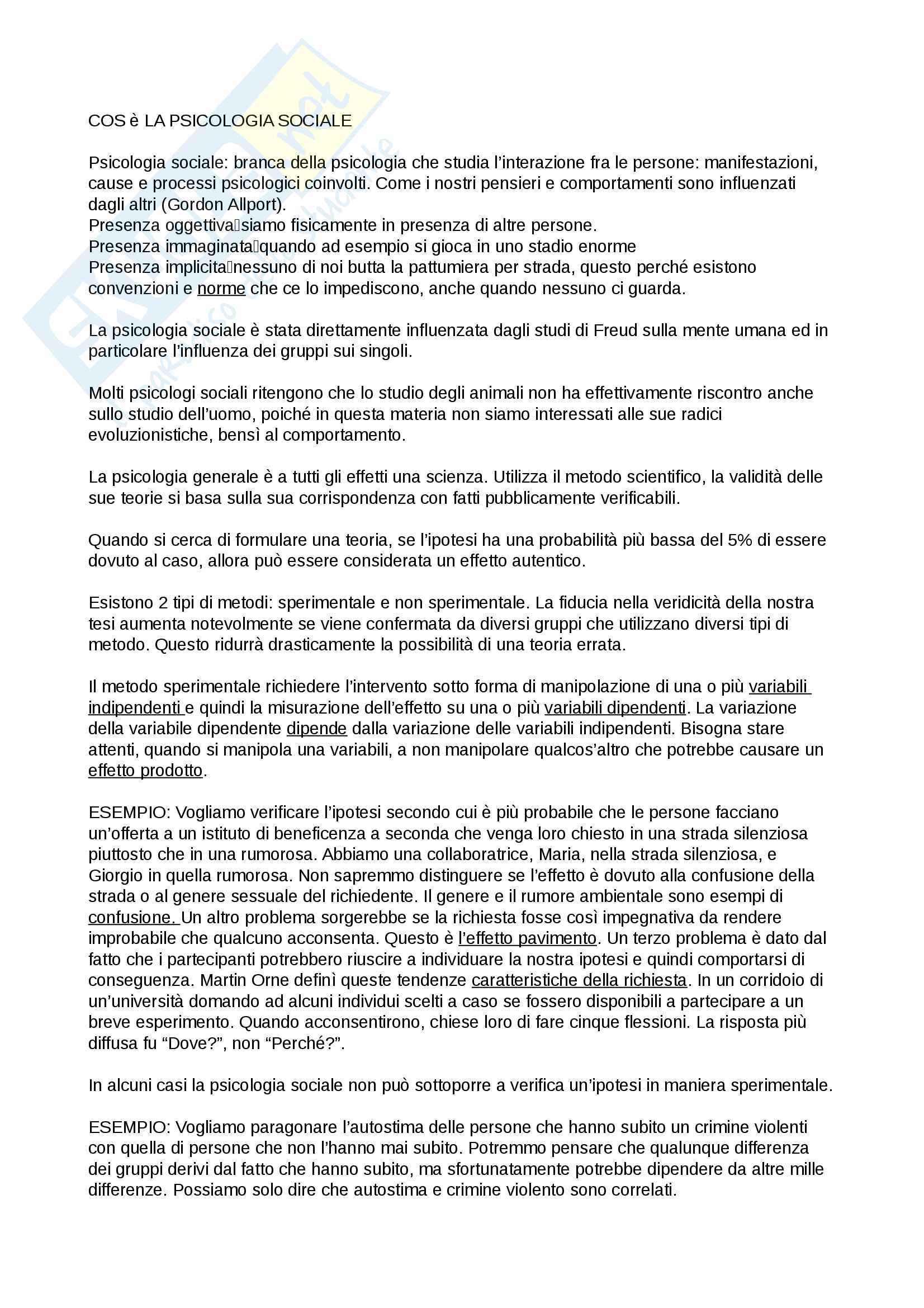Riassunto esame Psicologia Sociale, prof. Boccato, libro consigliato Psicologia sociale,Hogg, Vaughan