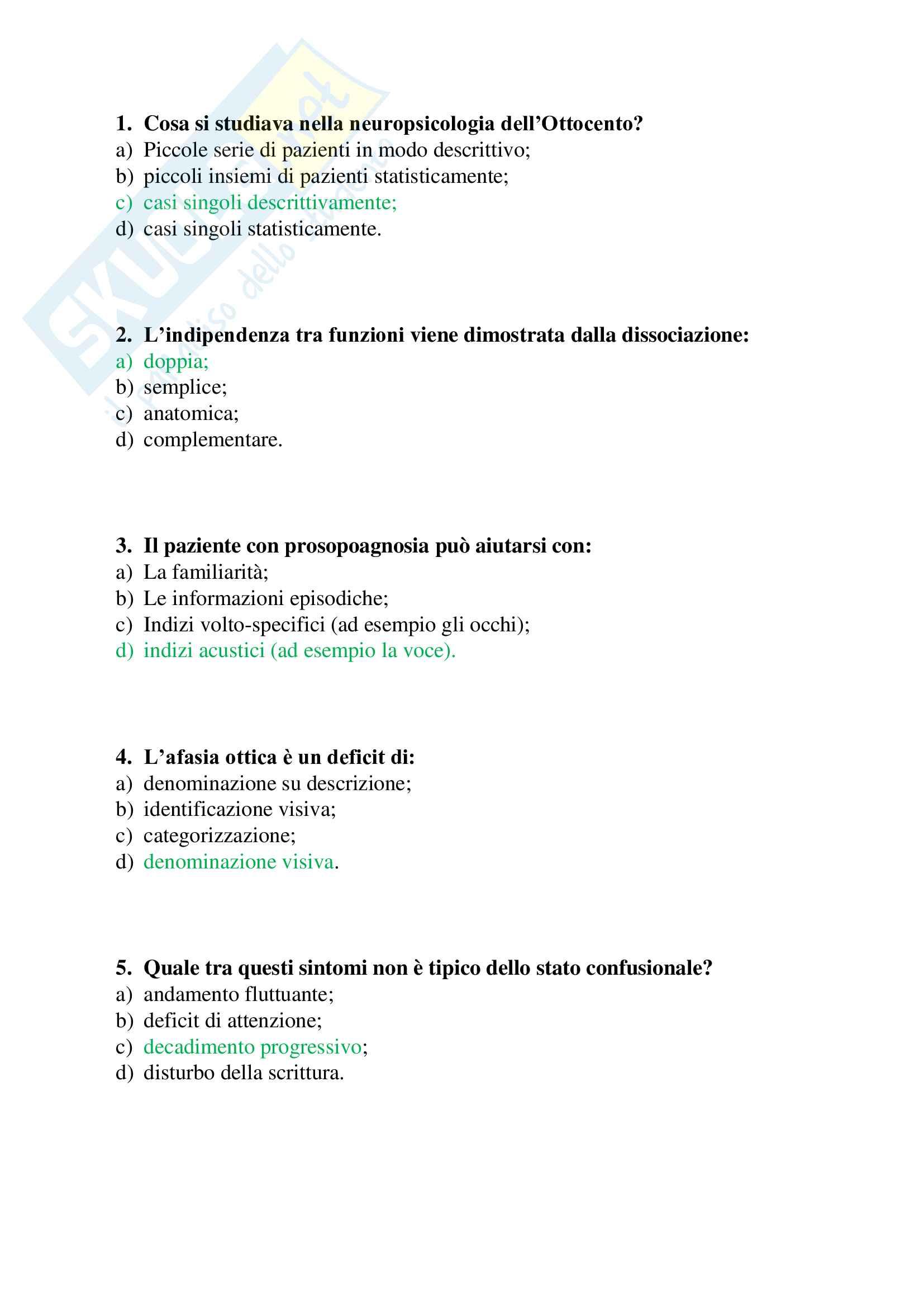 60 crocette per l'esame di Neuropsicologia dell'adulto e dell'anziano (Papagno, Vallar), ex Neuropsicologia - parte 1 (domande 1-60) Pag. 1