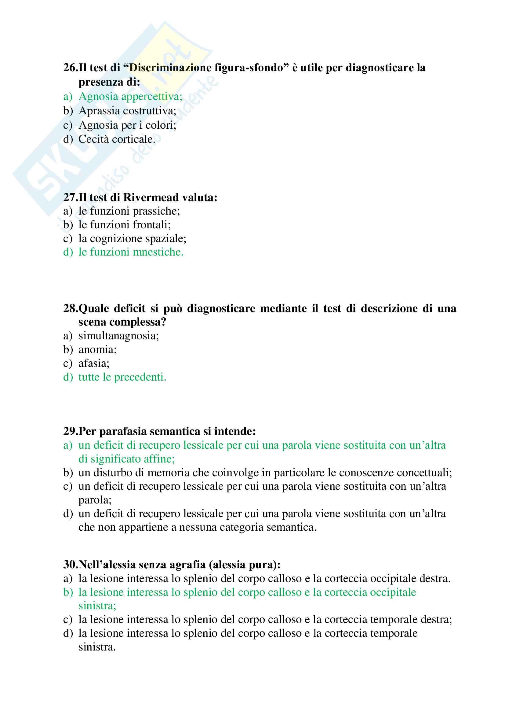 60 crocette per l'esame di Neuropsicologia dell'adulto e dell'anziano (Papagno, Vallar), ex Neuropsicologia - parte 1 (domande 1-60) Pag. 6