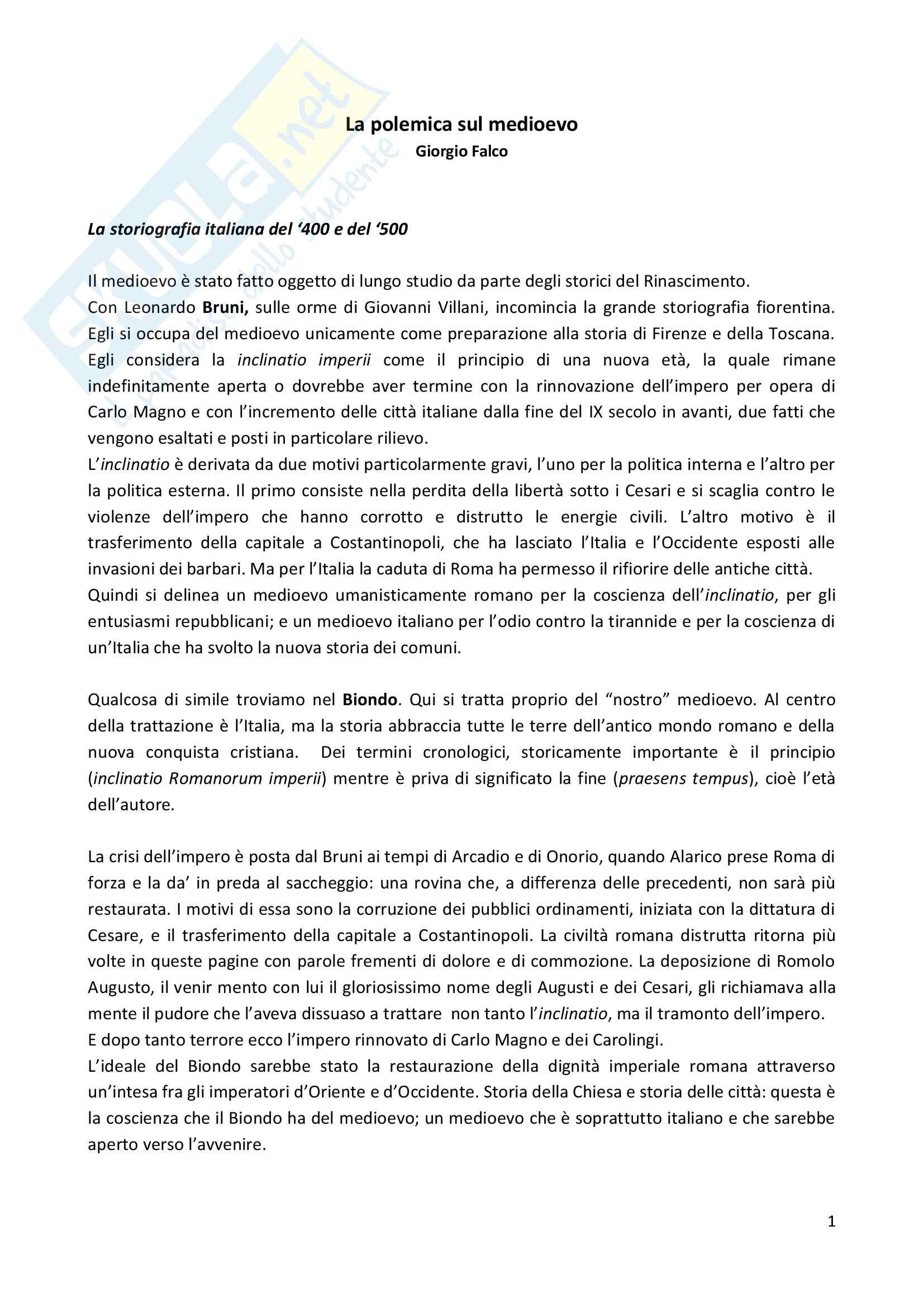 appunto M. Del Fuoco Storia della storiografia medievale
